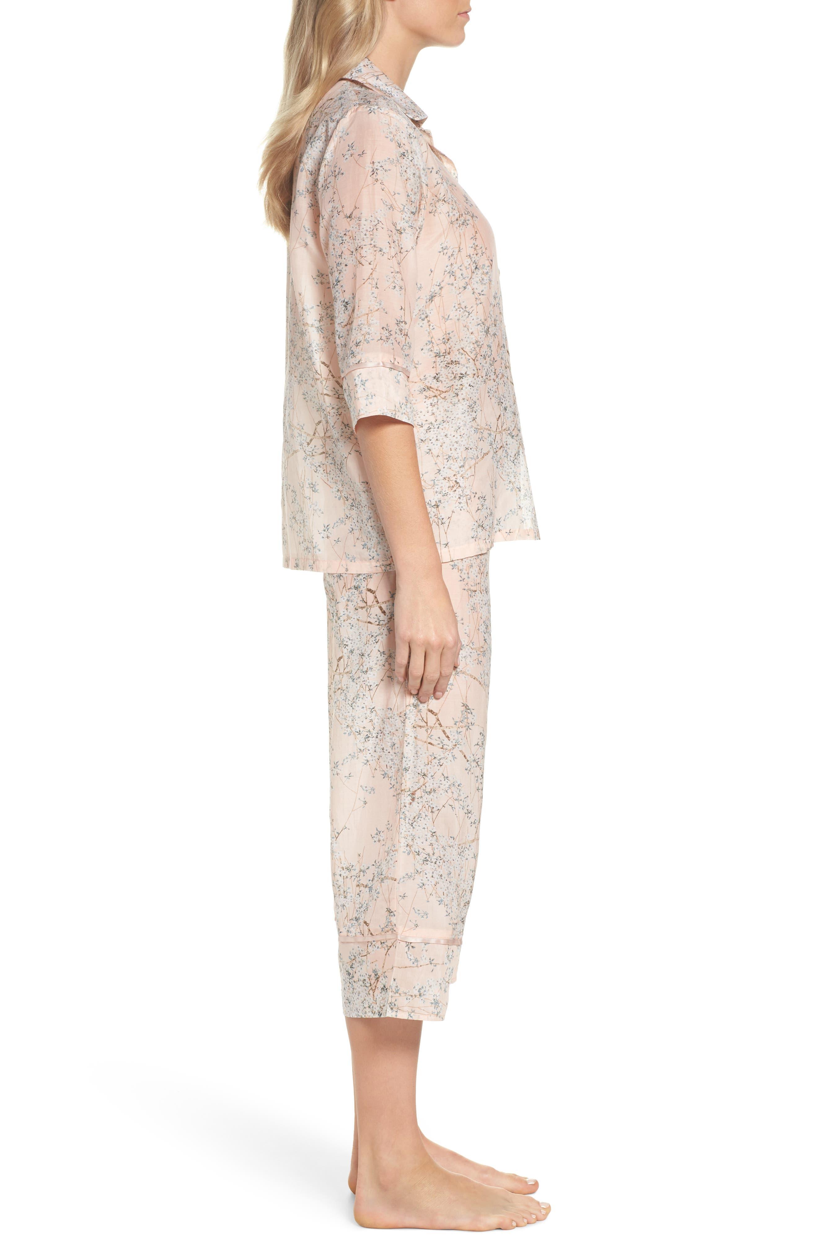 Cherry Blossom Cotton & Silk Crop Pajamas,                             Alternate thumbnail 3, color,                             Pink