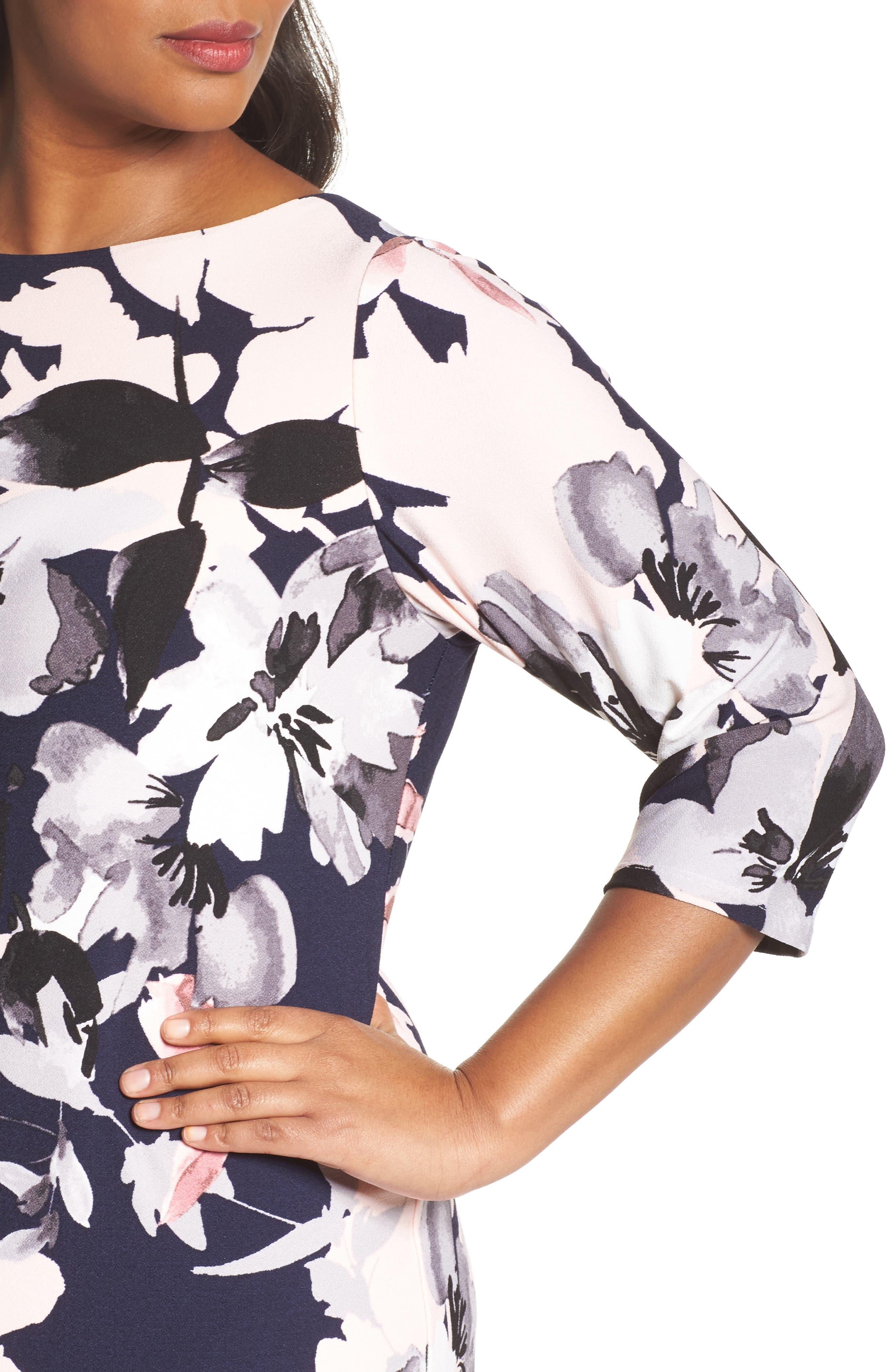Floral Knit Sheath Dress,                             Alternate thumbnail 4, color,                             Navy Multi
