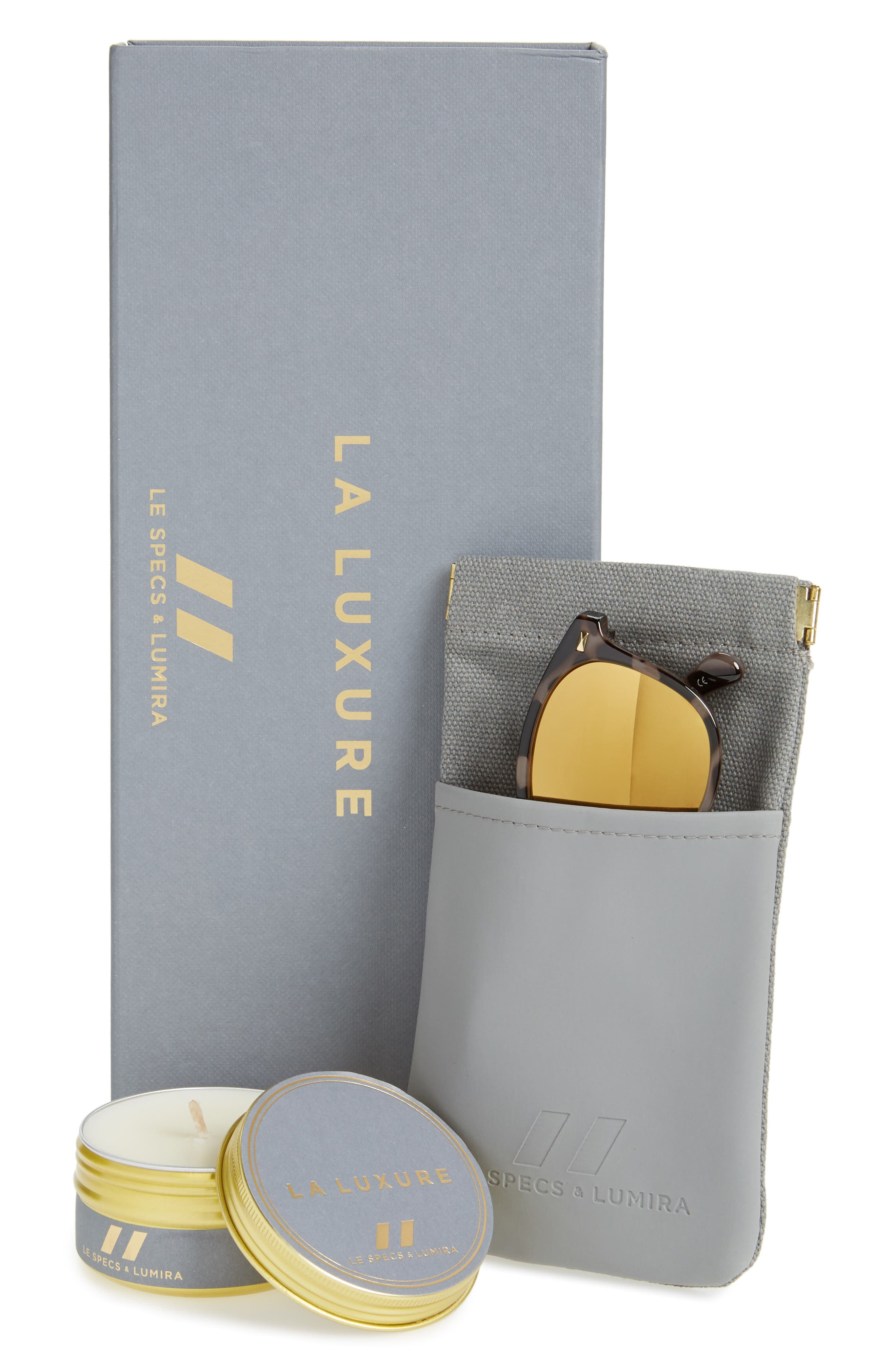 x Lumira Bandwagon 51mm Sunglasses & Candle Gift Set,                             Alternate thumbnail 2, color,                             Volcanic Tort