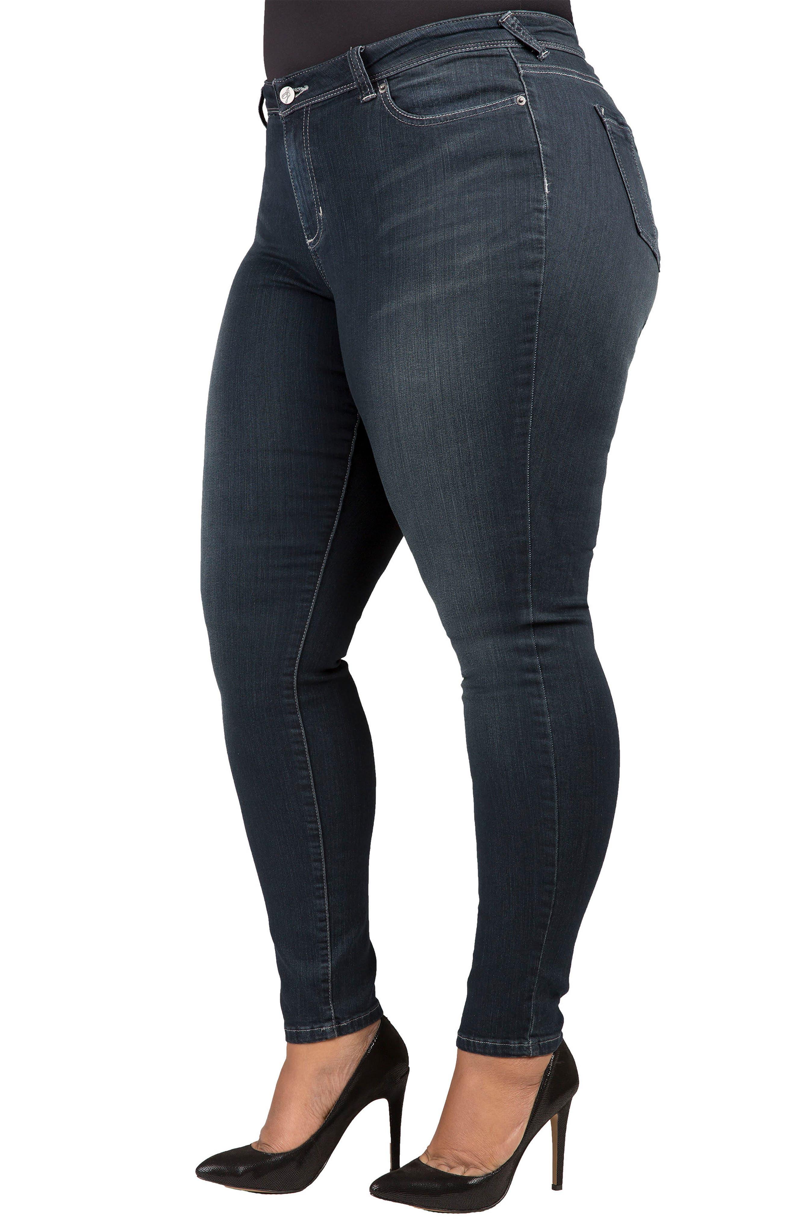 Alternate Image 3  - Poetic Justice 'Maya' Stretch Skinny Jeans (Dark Blue) (Plus Size)