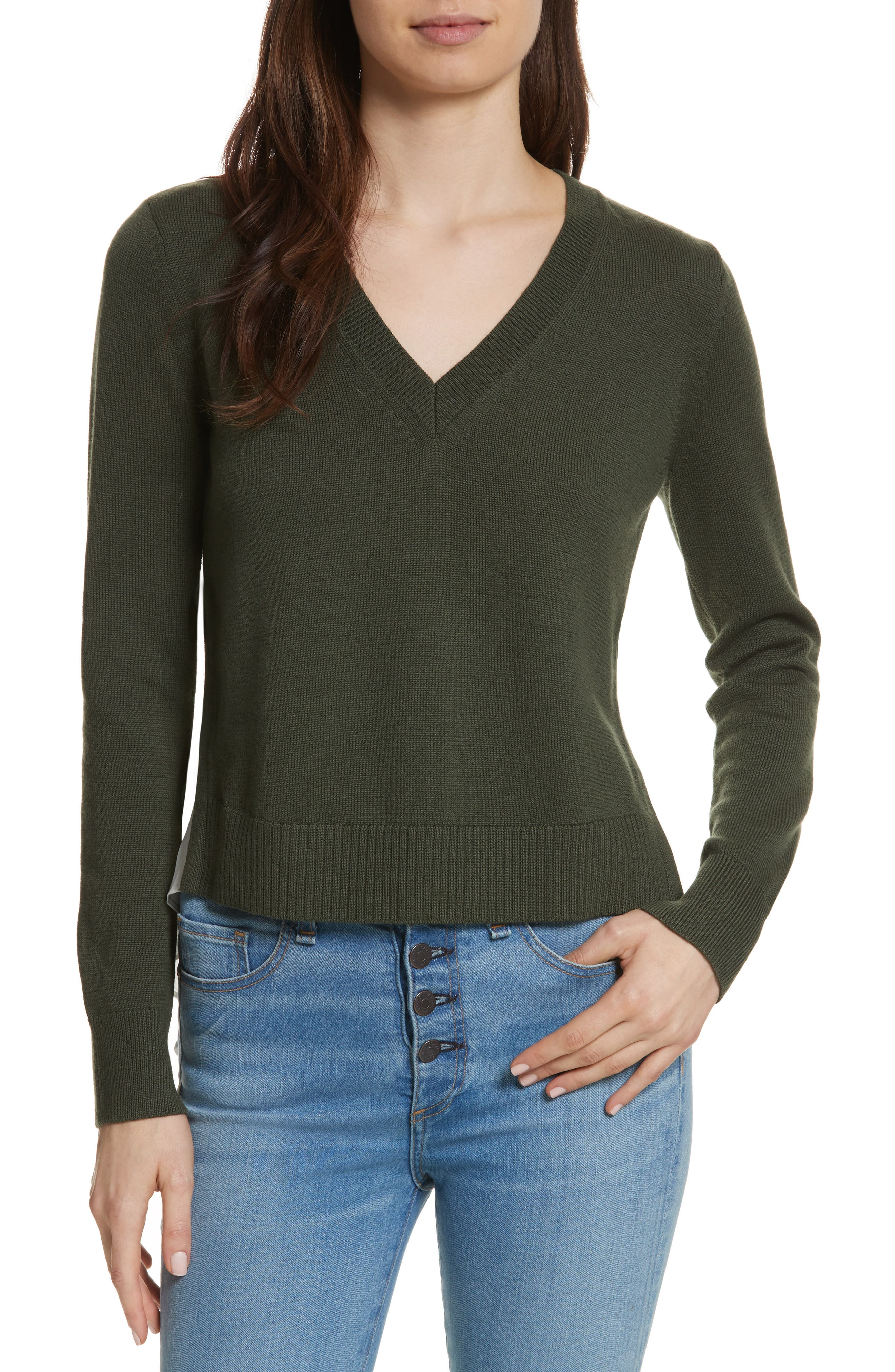 Concord V Neck Mixed Media Sweater,                         Main,                         color, Army/ Off White