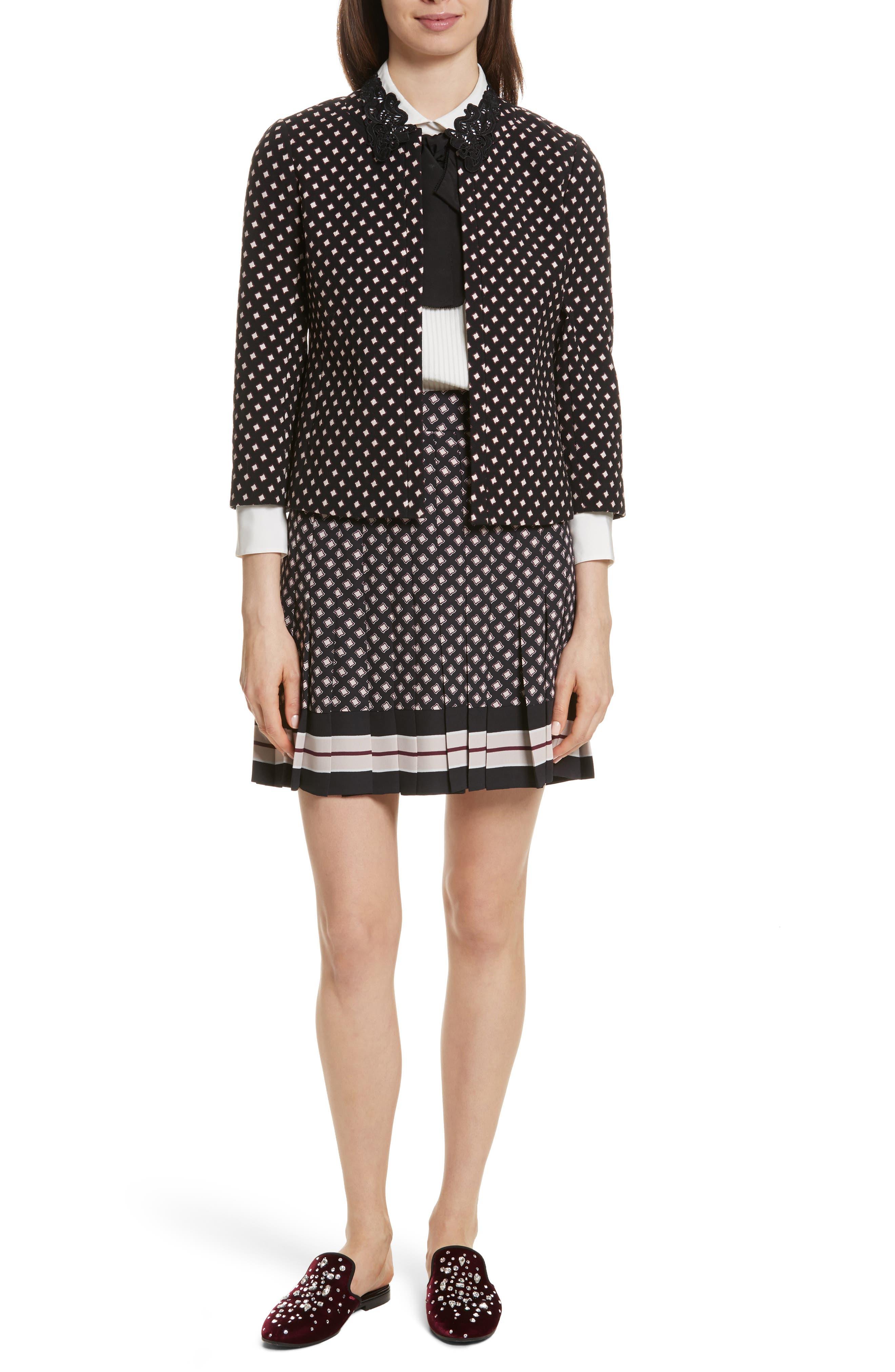 pleated skirt,                             Alternate thumbnail 7, color,                             Black