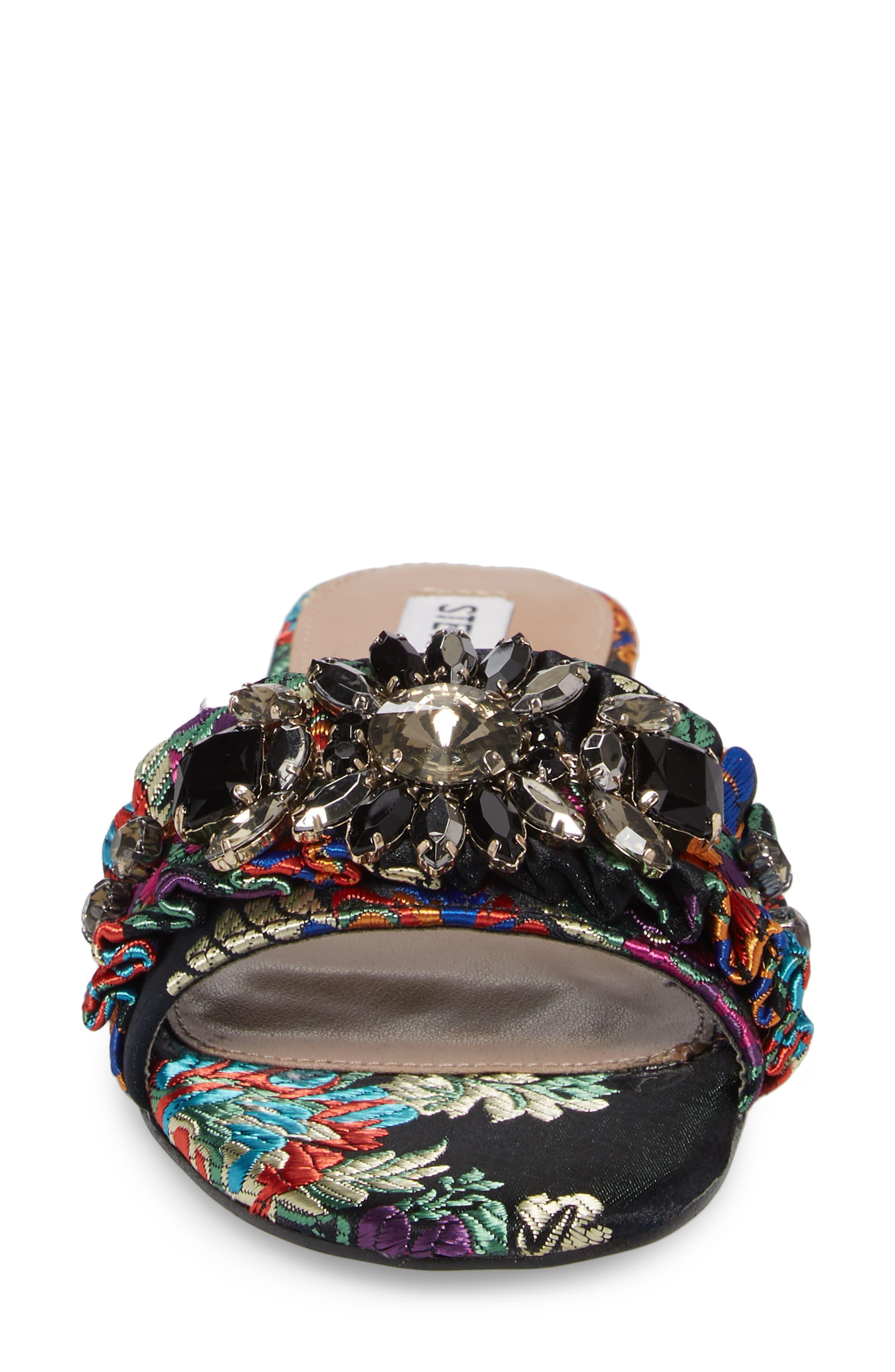 Pomona Crystal Embellished Slide Sandal,                             Alternate thumbnail 4, color,                             Black Multi