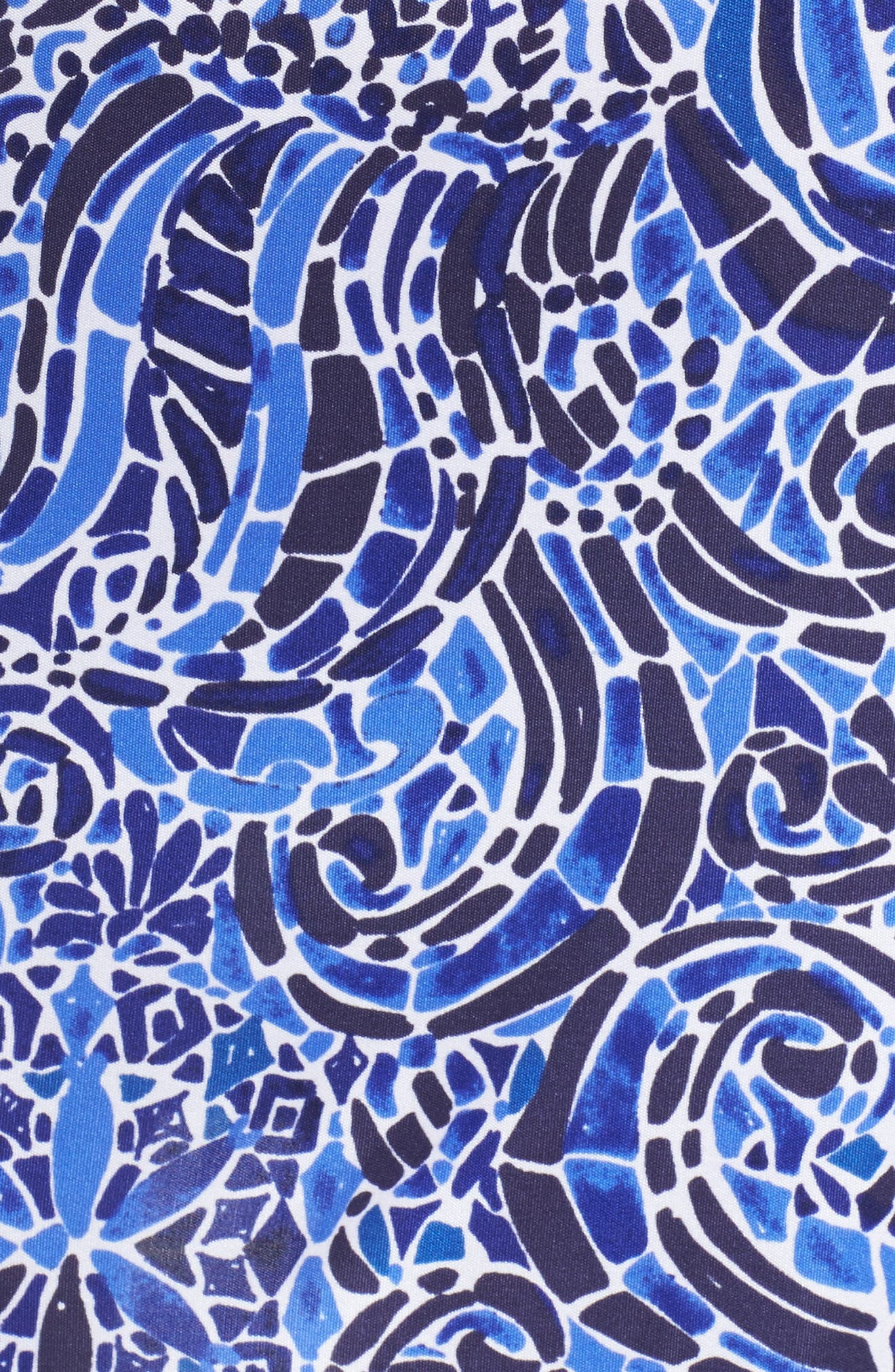 Felizia Silk Dress,                             Alternate thumbnail 5, color,                             Bright Navy Taverna Tile