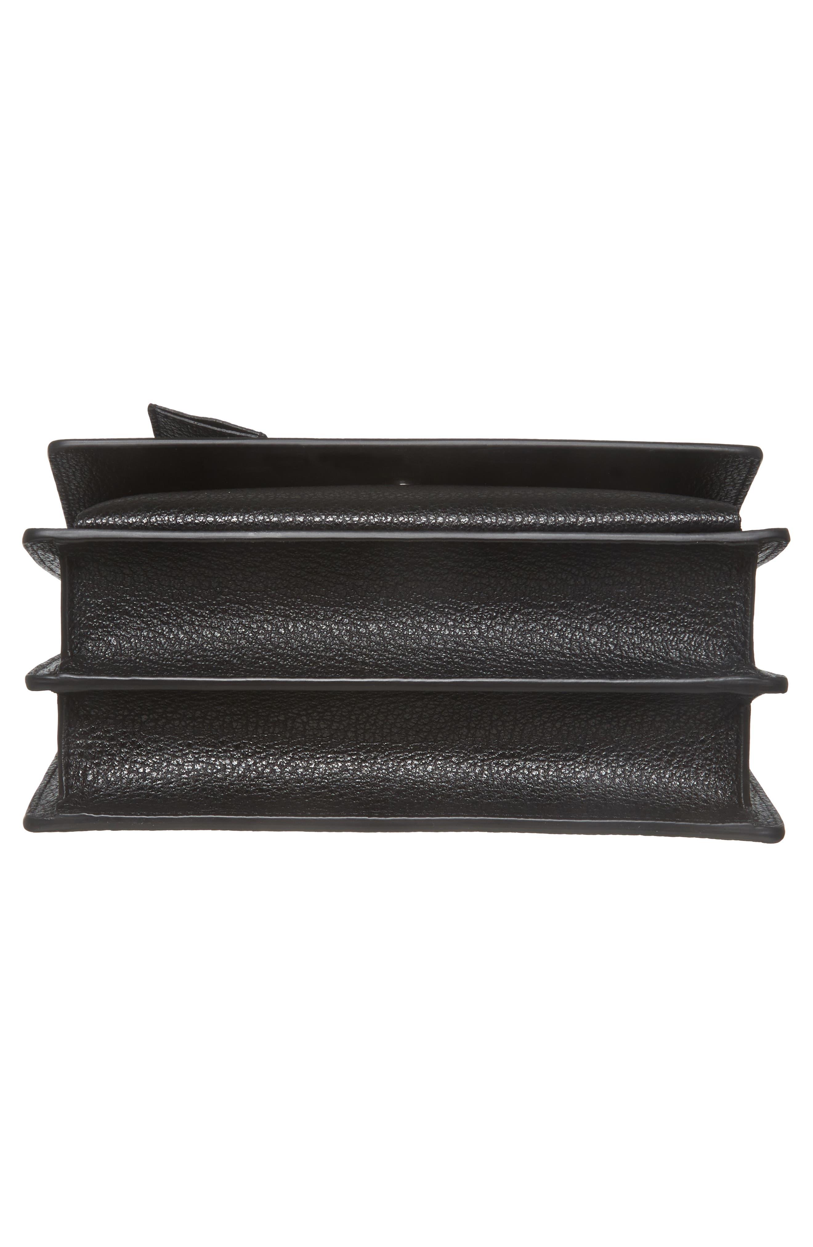 Medium Sunset Calfskin Shoulder Bag with Woven Guitar Strap,                             Alternate thumbnail 6, color,                             Noir