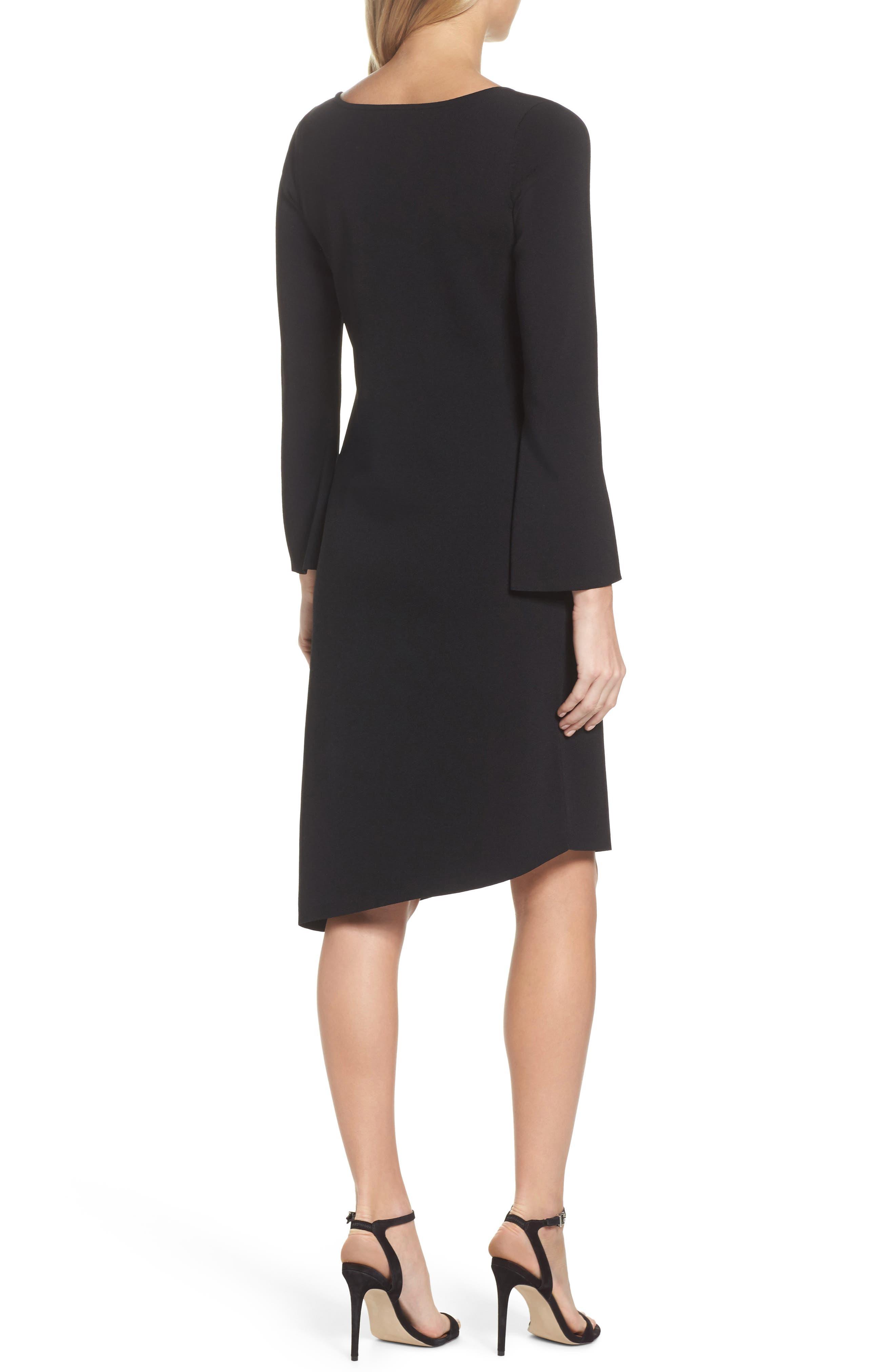 Studded Asymmetrical Dress,                             Alternate thumbnail 2, color,                             Black Onyx