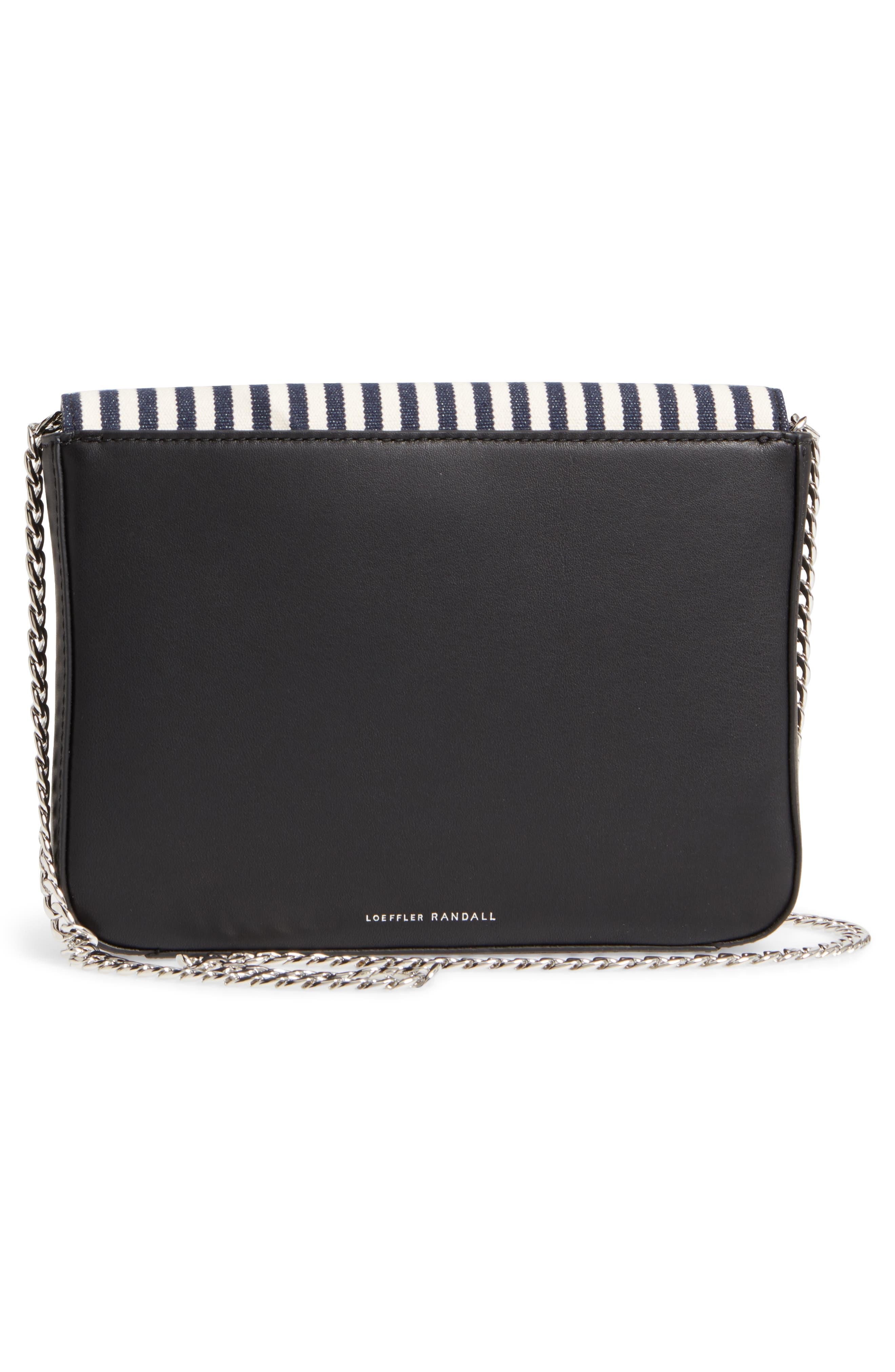 Lock Stripe Clutch/Shoulder Bag,                             Alternate thumbnail 3, color,                             White/ Eclipse
