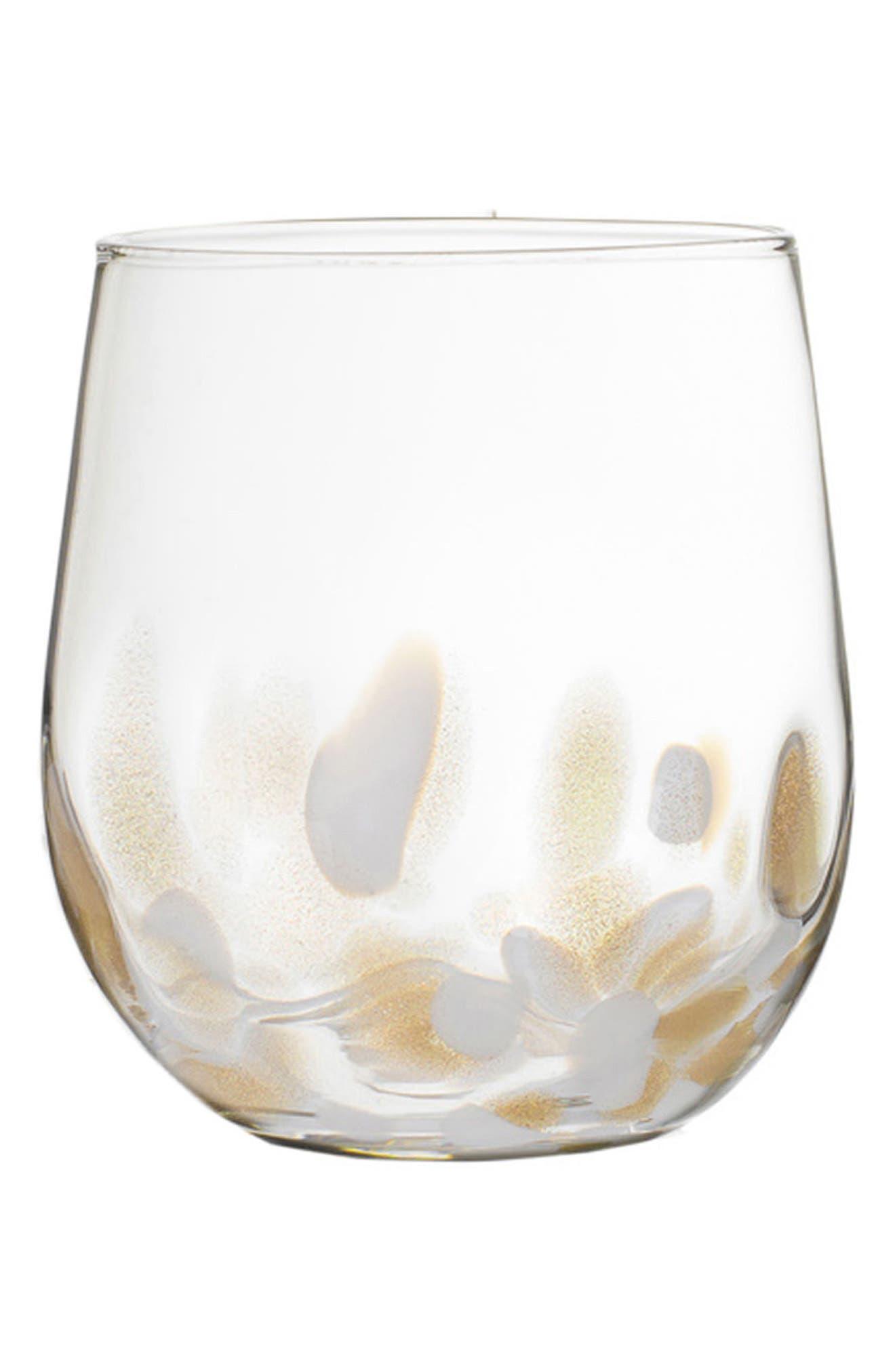 Simone Set of 4 Stemless Wine Glasses,                         Main,                         color, White/ Gold