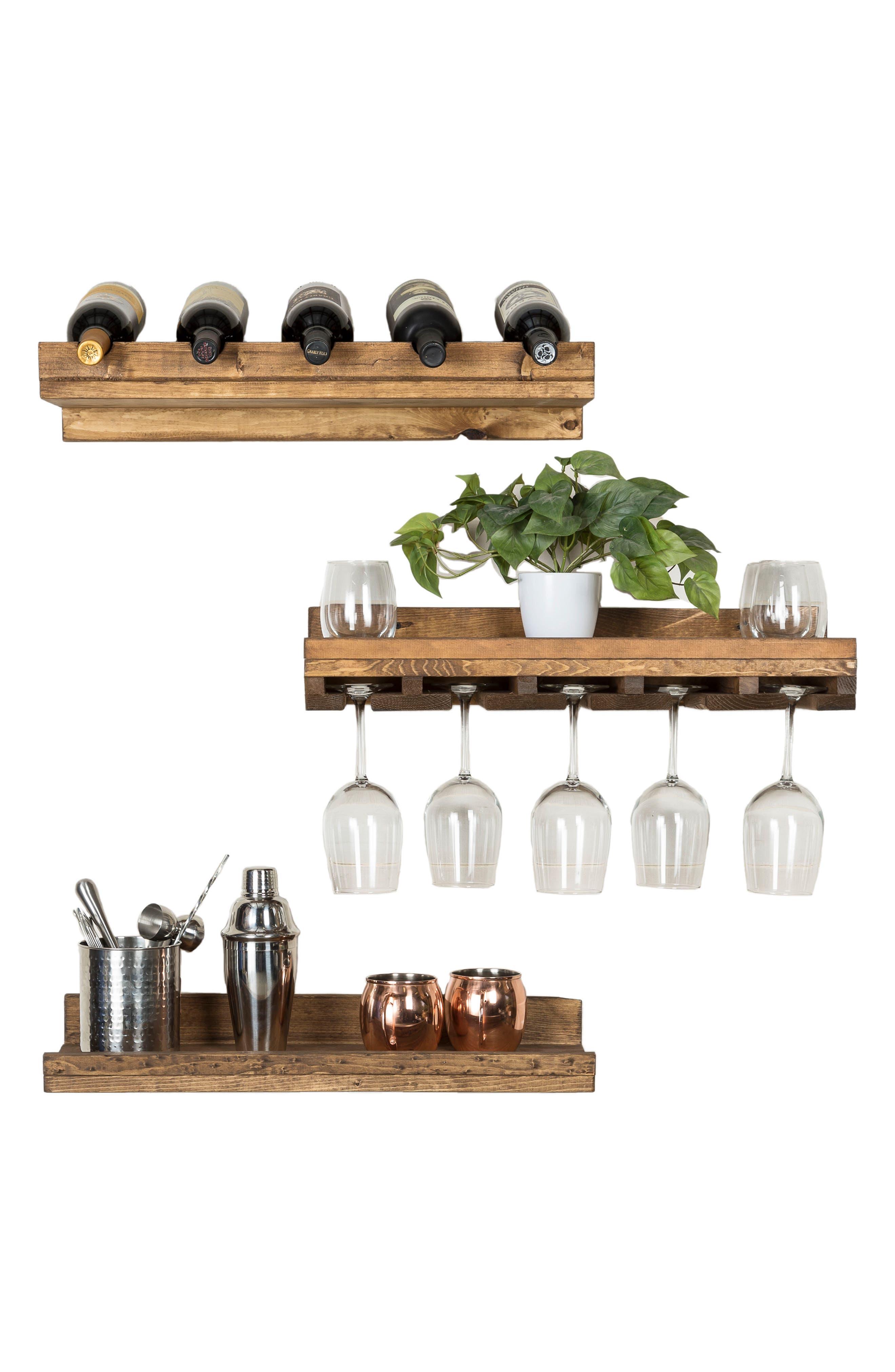 Set of 3 Pine Wood Wine Racks,                             Alternate thumbnail 12, color,                             Dark Walnut