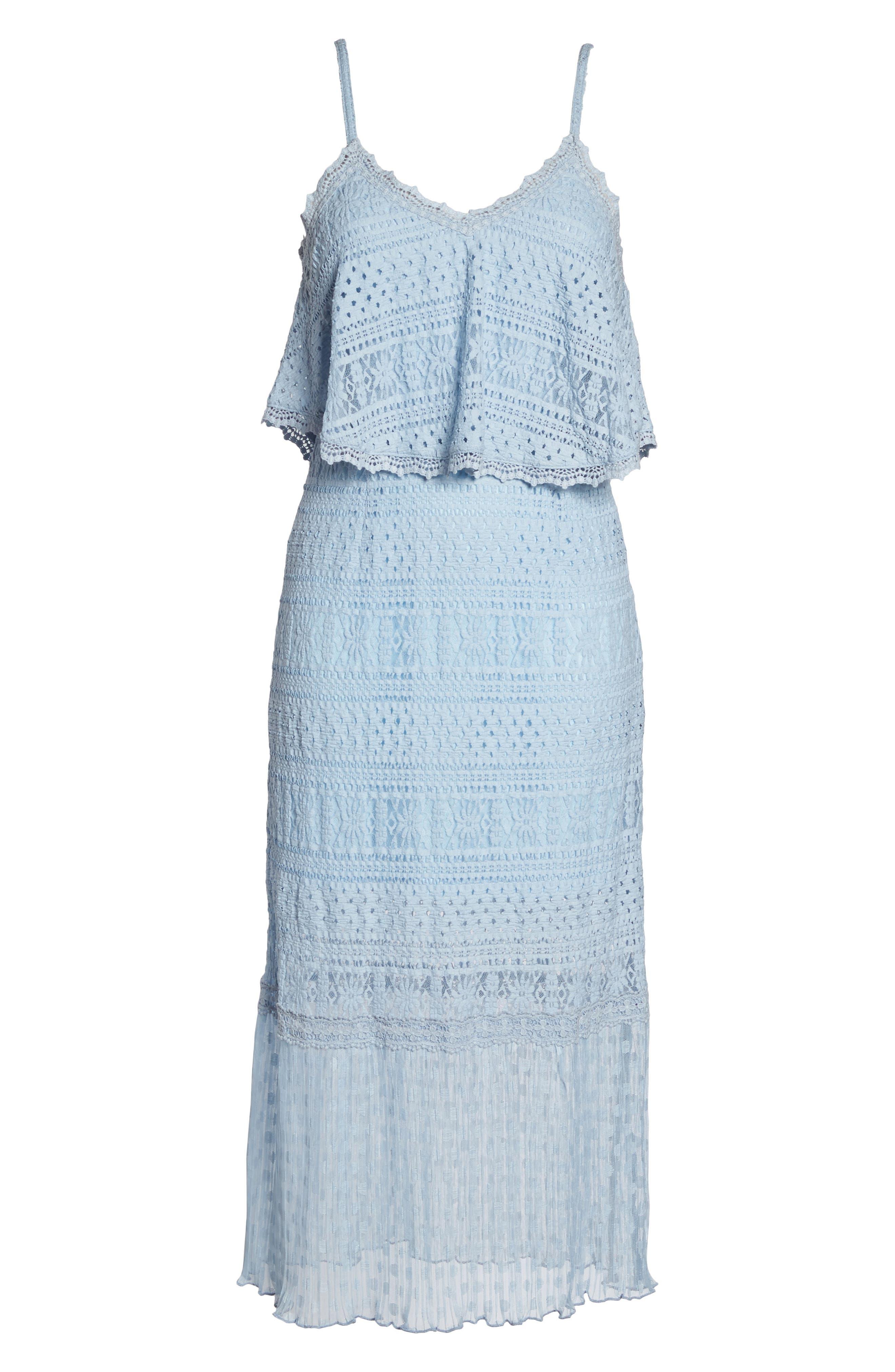 Ellie Lace Popover Midi Dress,                             Alternate thumbnail 6, color,                             Celestial Blue