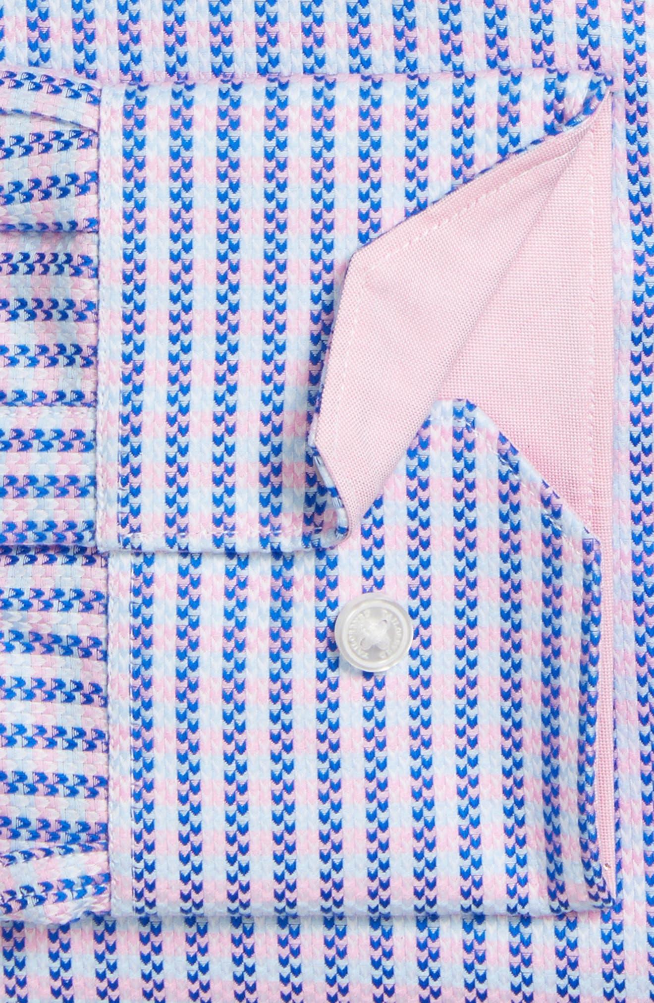 Trim Fit Stripe Dress Shirt,                             Alternate thumbnail 3, color,                             Pink