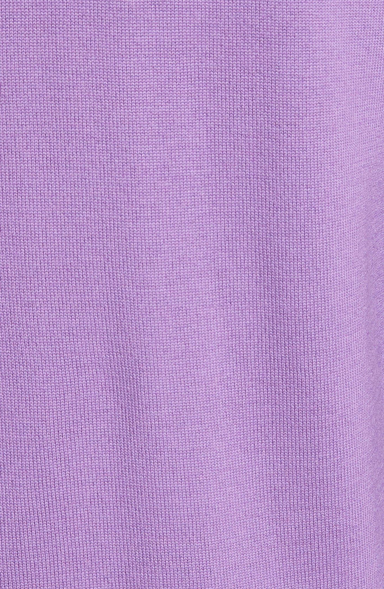Layered Hem Wool Sweater,                             Alternate thumbnail 5, color,                             Deep Orchid