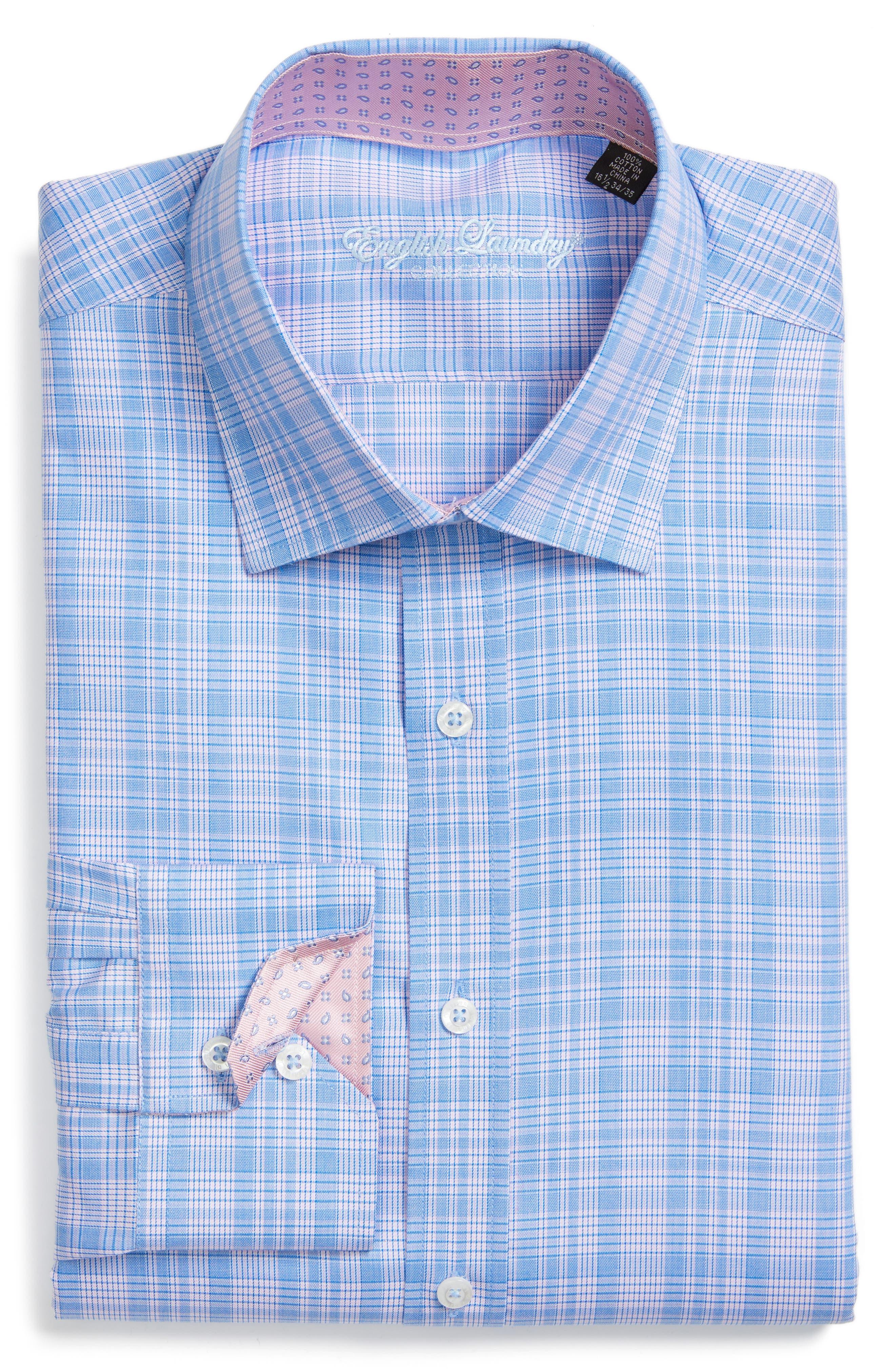 Trim Fit Plaid Dress Shirt,                         Main,                         color, Pink