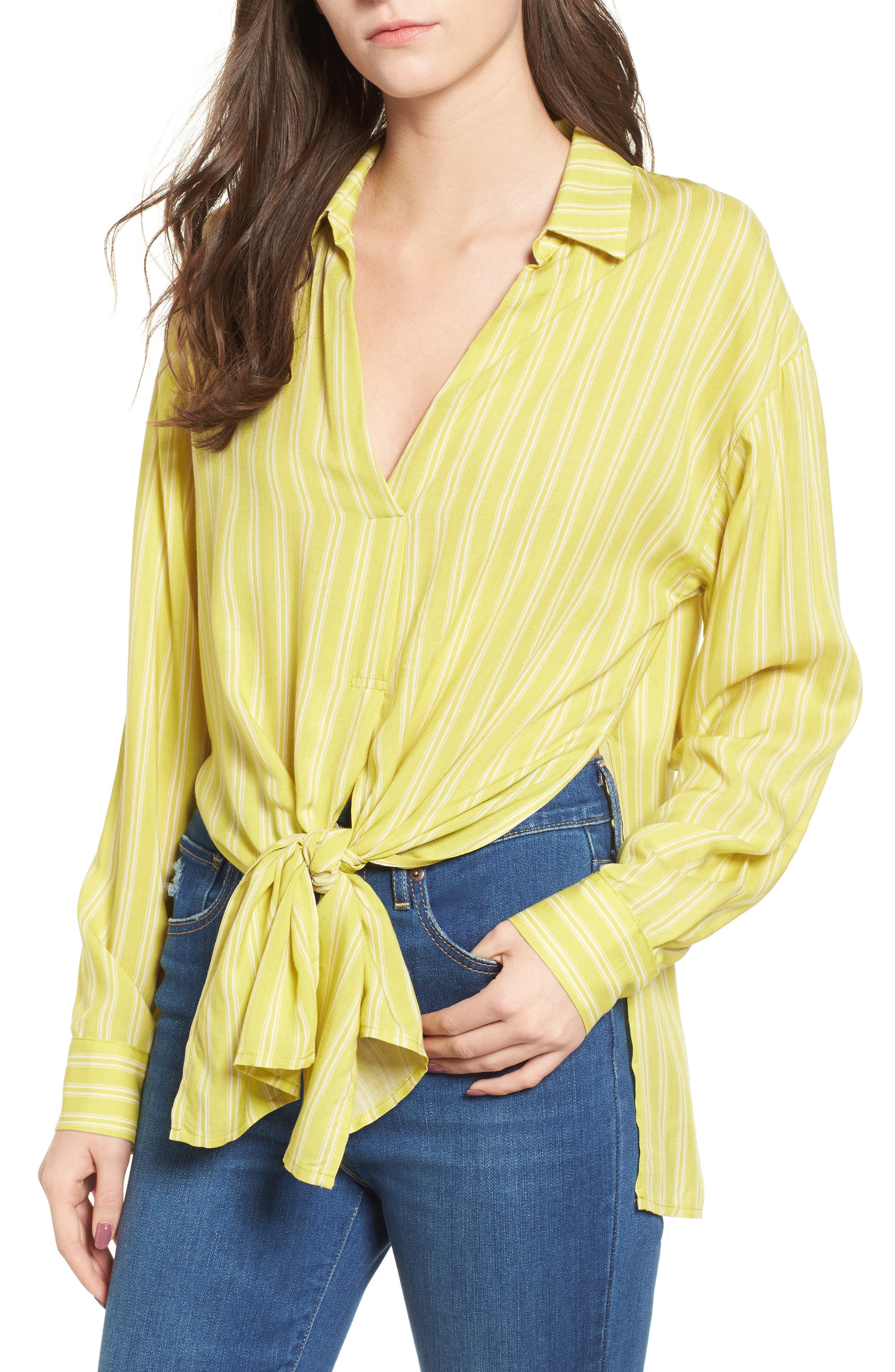 Stripe Tie Waist Blouse,                         Main,                         color, Yellow