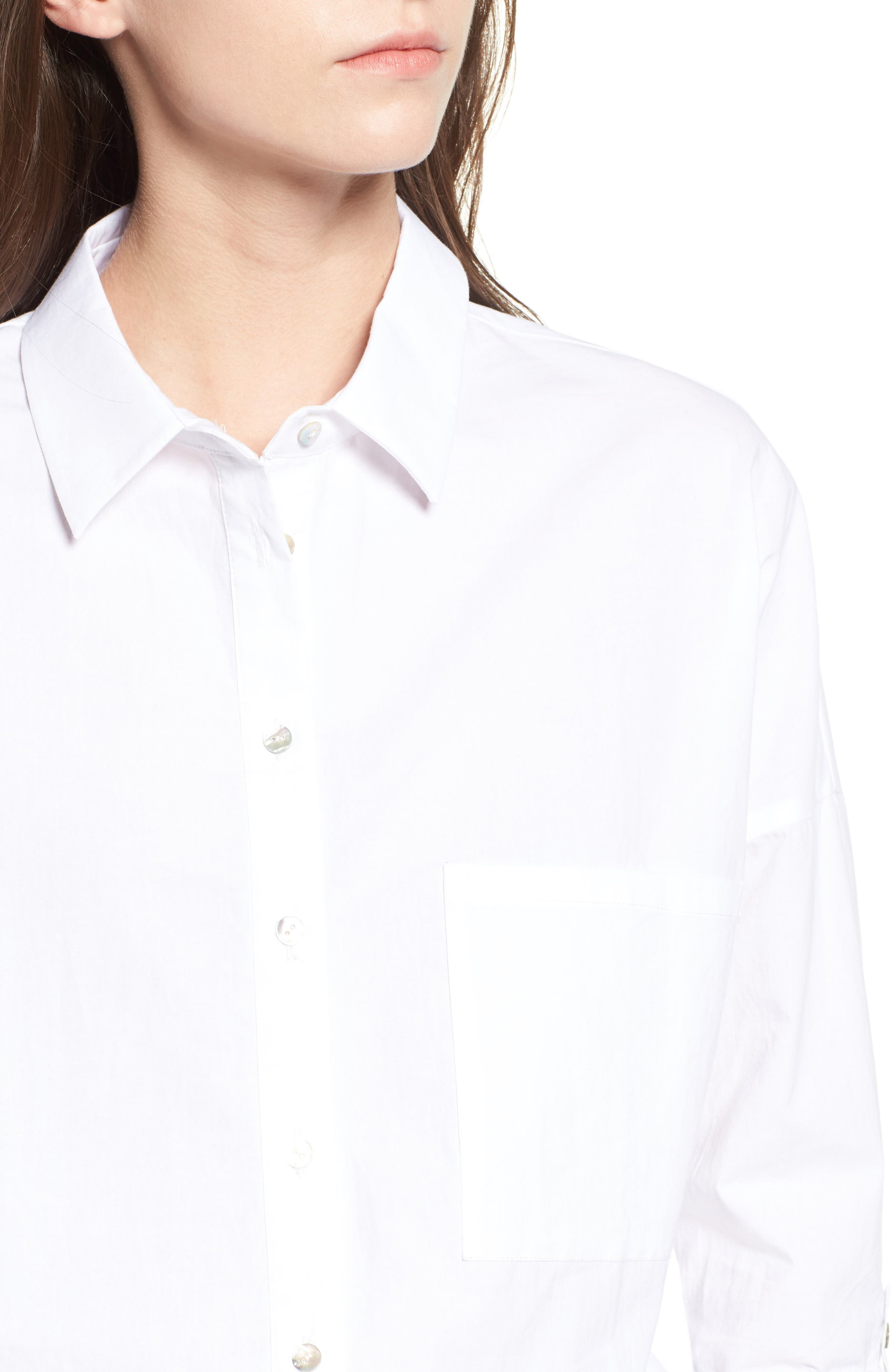 Embroidered Back Shirt,                             Alternate thumbnail 4, color,                             White