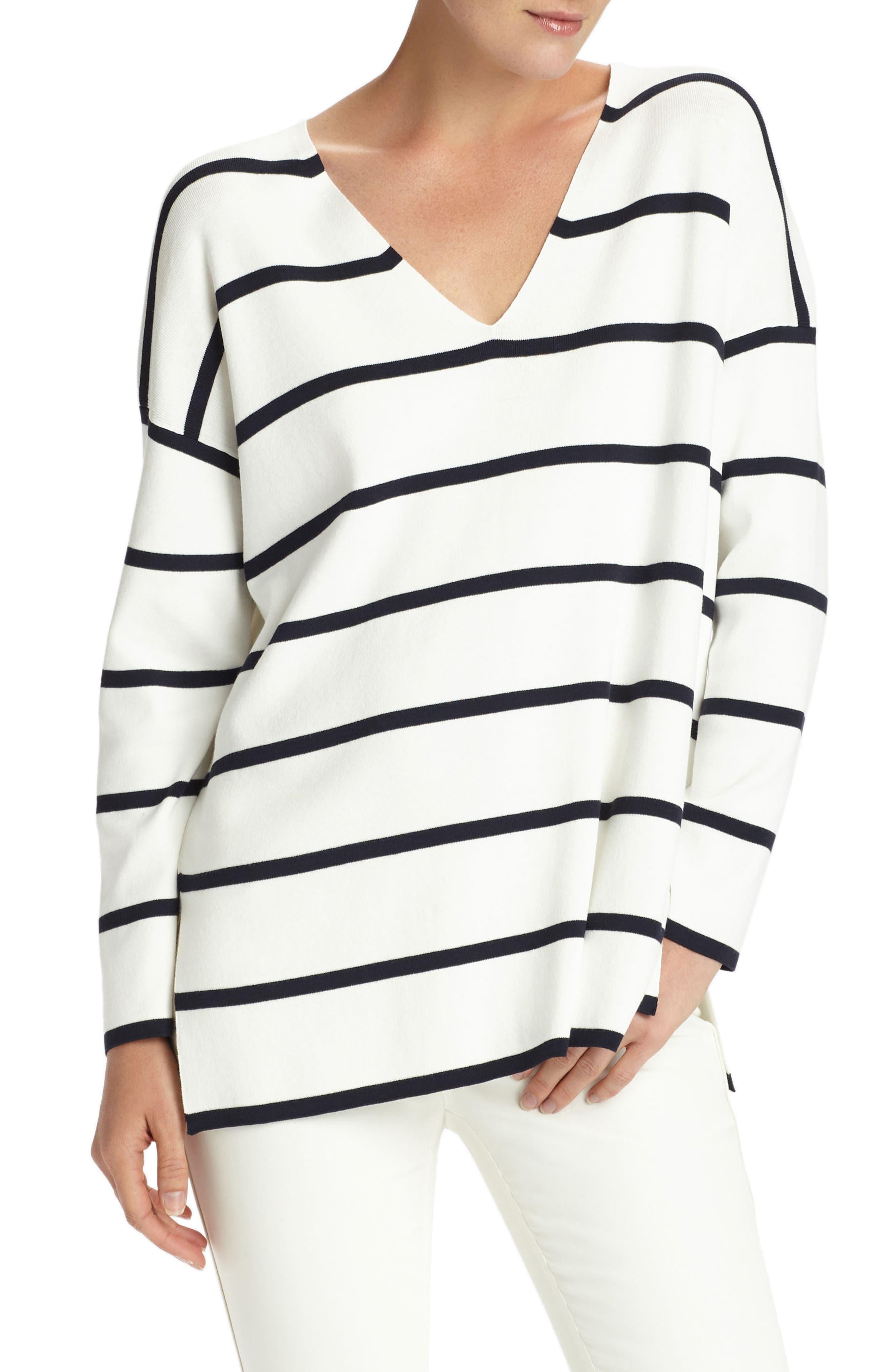 Alternate Image 1 Selected - Lafayette 148 New York Stripe Sweater