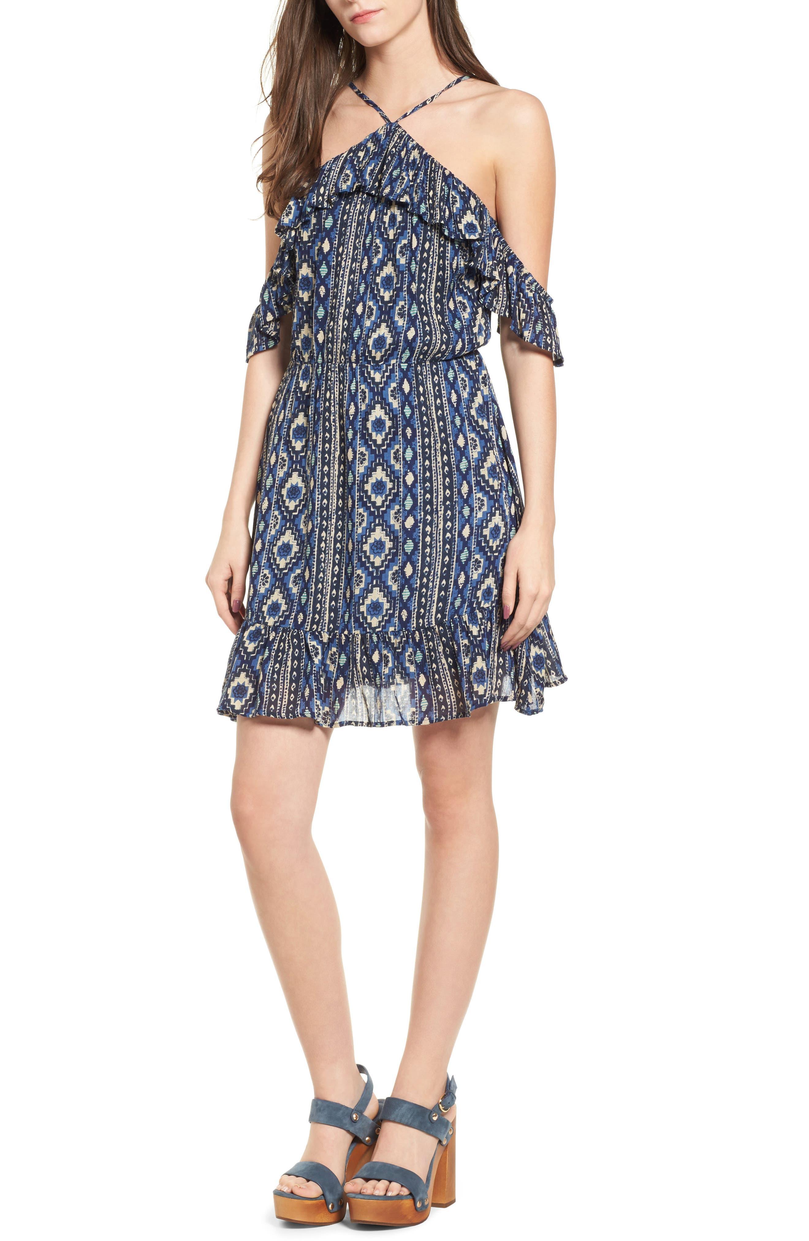 Cancun Ruffle Halter Dress,                         Main,                         color, Multi Blue