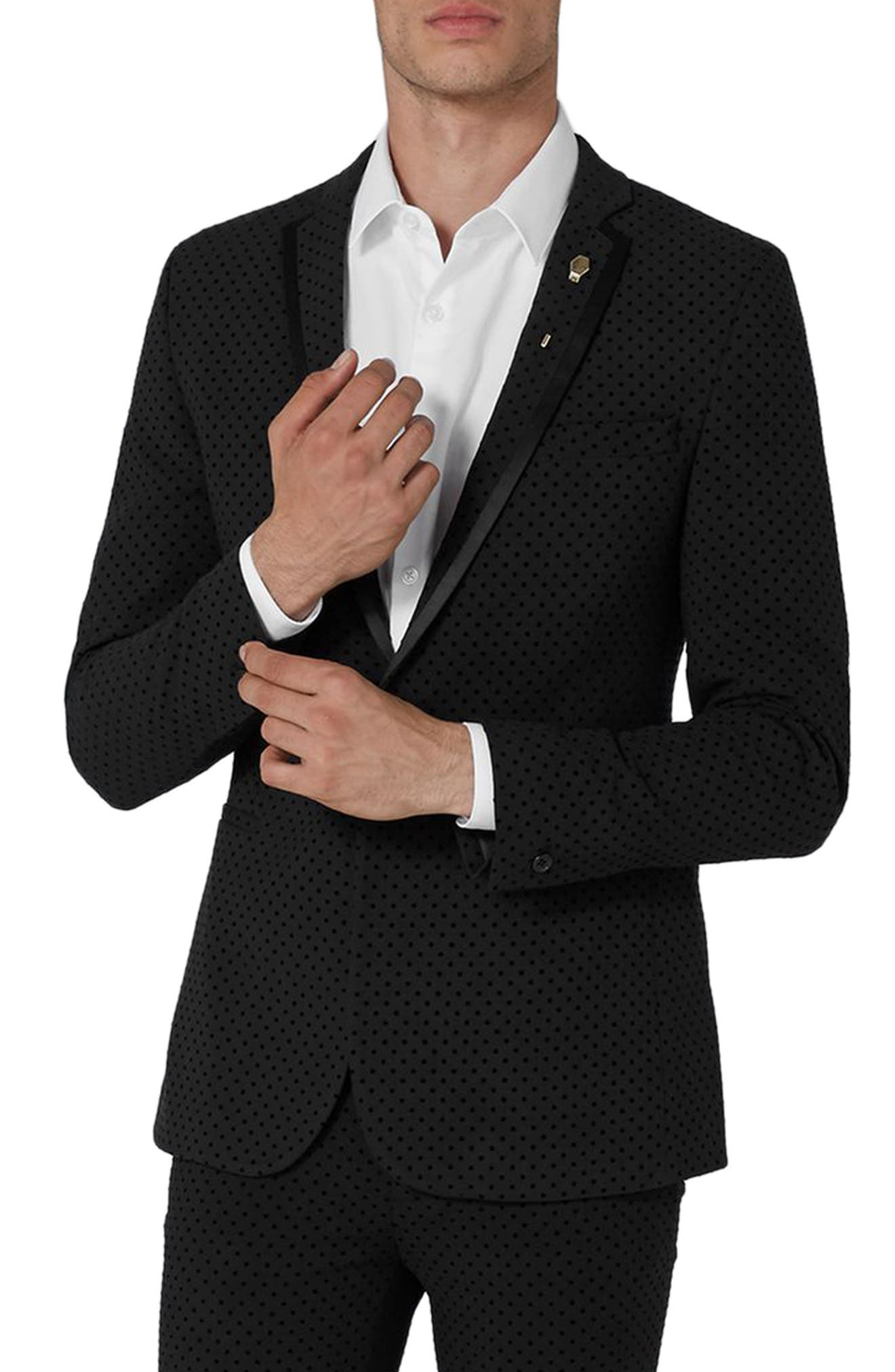 Dotted Ultra Skinny Fit Suit Jacket,                         Main,                         color, Black