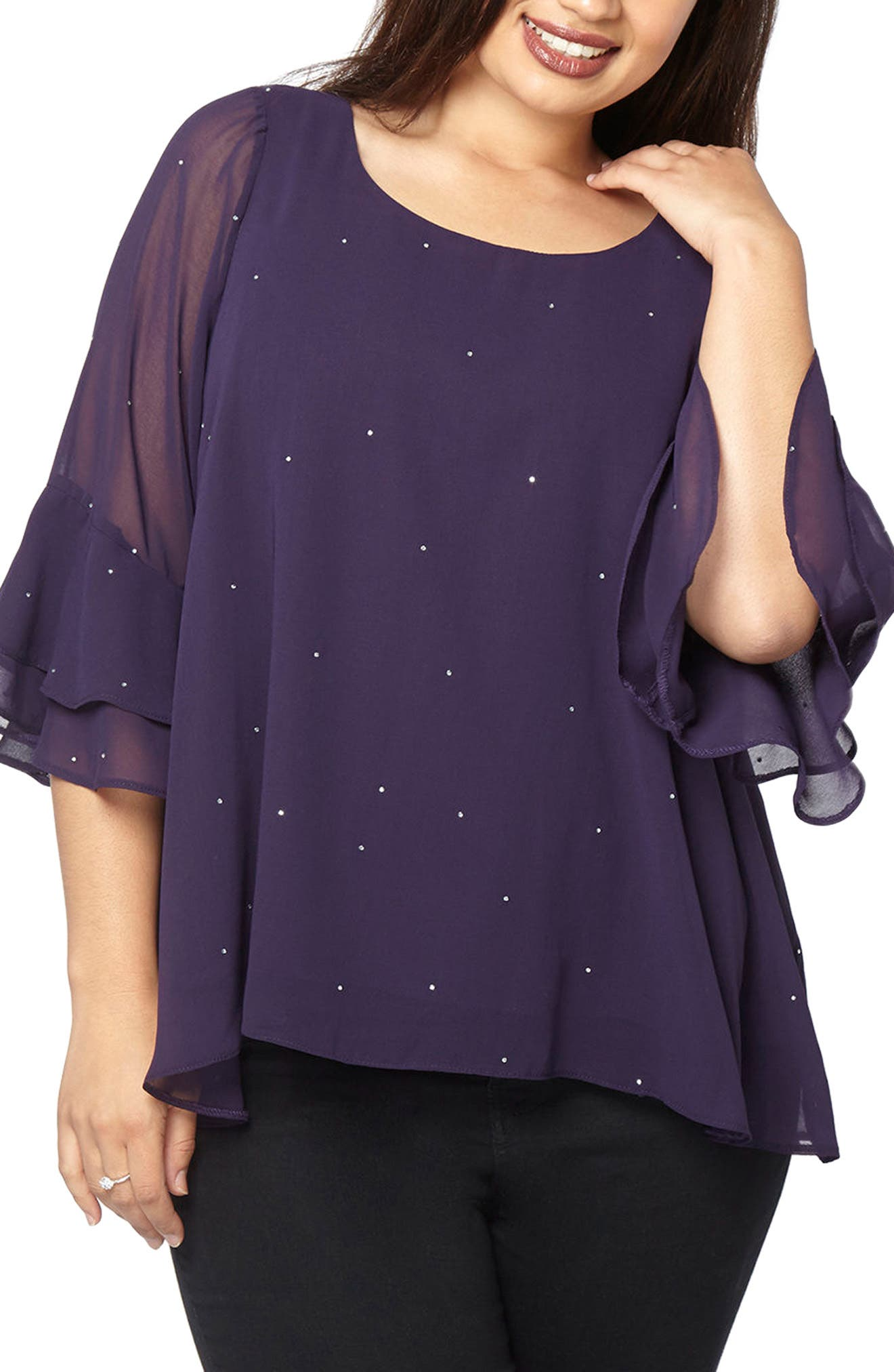 Main Image - Evans Hotfix Bell Sleeve Sparkle Top