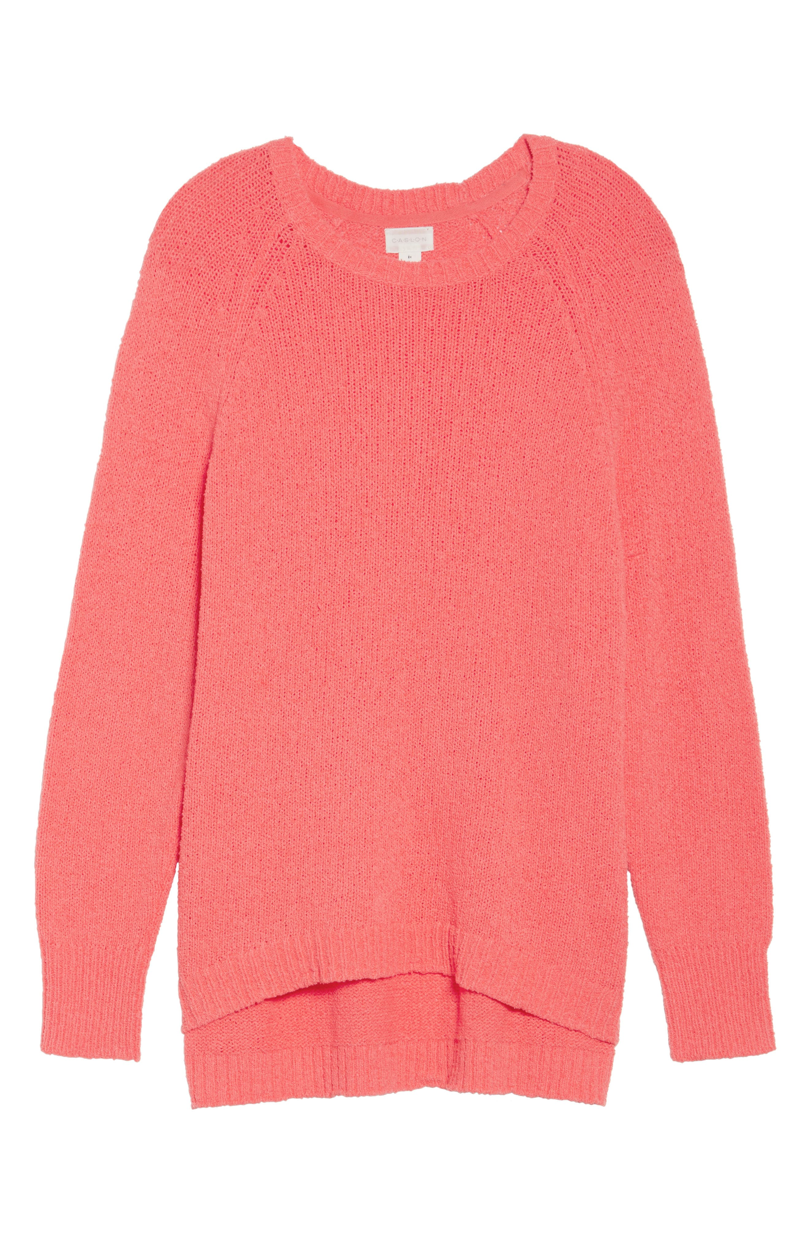 Relaxed Crewneck Sweater,                             Alternate thumbnail 7, color,                             Coral Sea