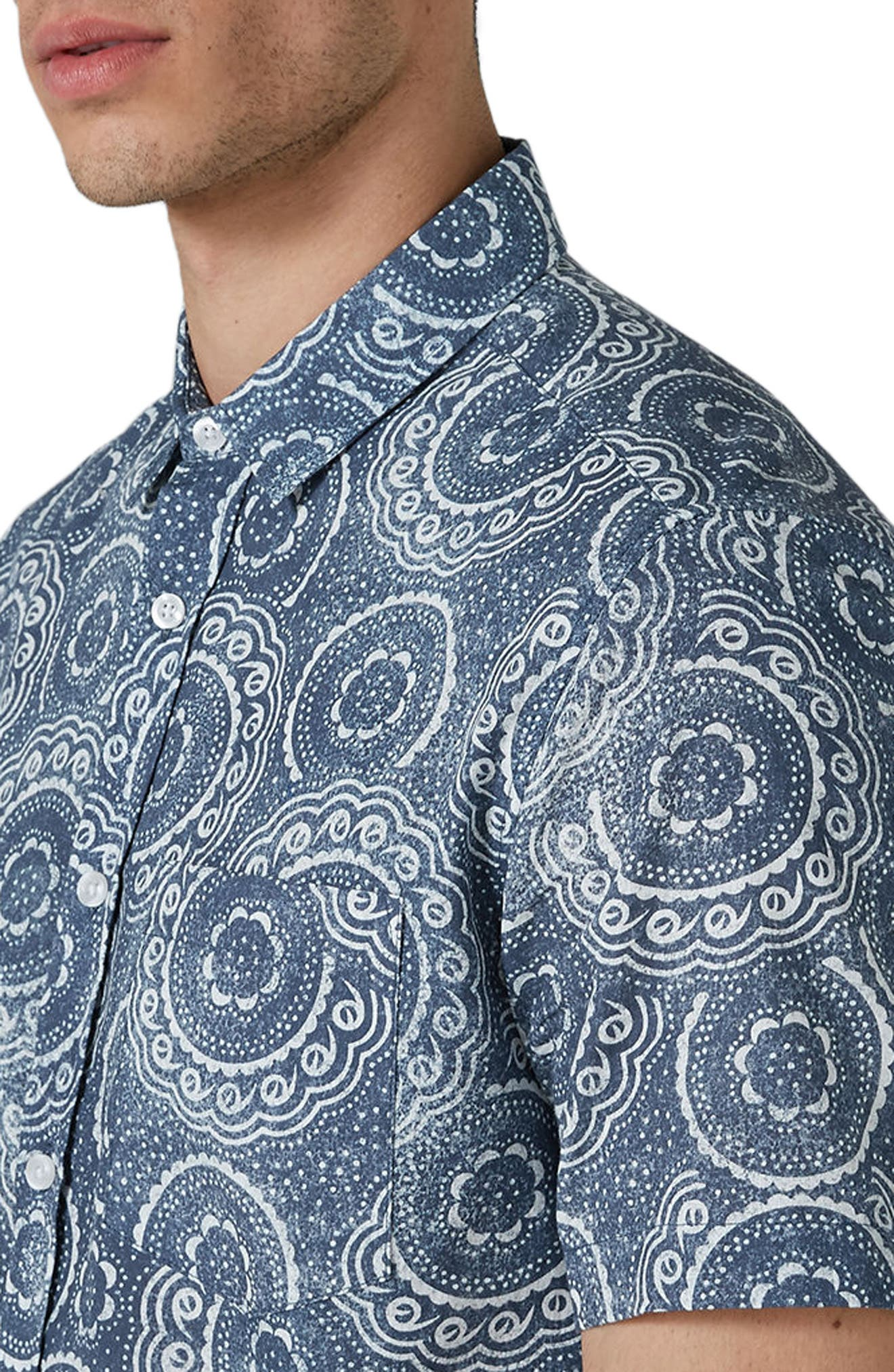 Trim Fit Circle Print Woven Shirt,                             Alternate thumbnail 4, color,                             Blue Multi