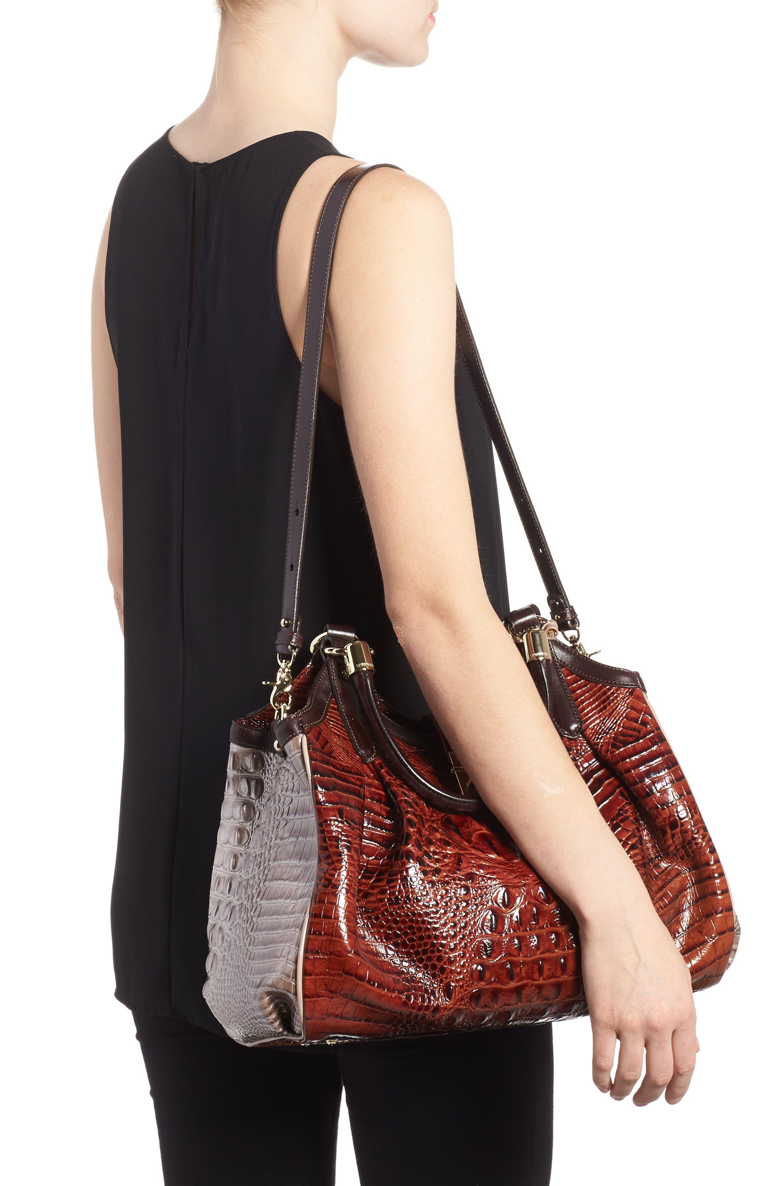 Elisa Croc Embossed Leather Shoulder Bag,                             Alternate thumbnail 2, color,                             Pecan