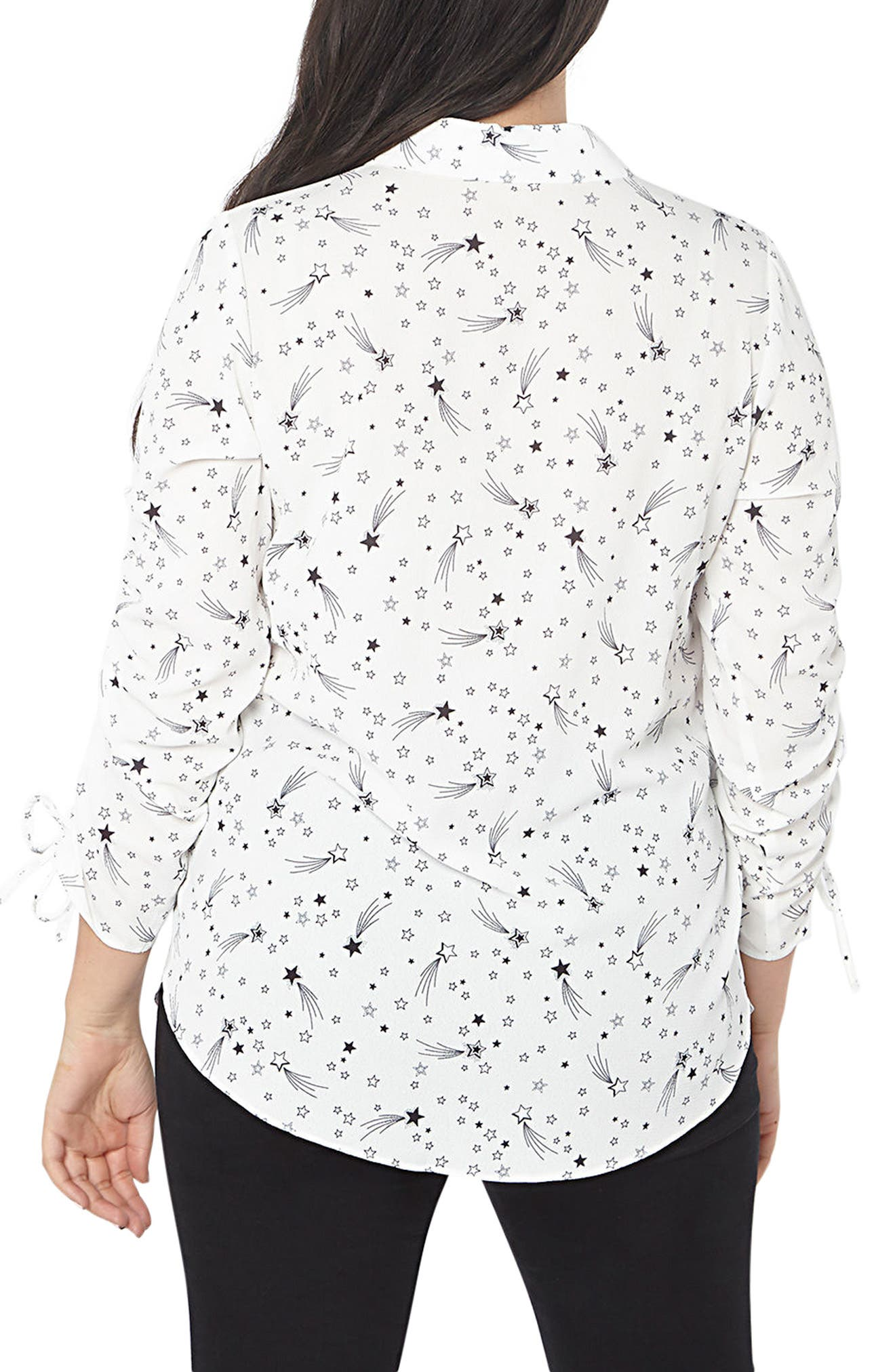 Star Ruched Shirt,                             Alternate thumbnail 2, color,                             Ivory