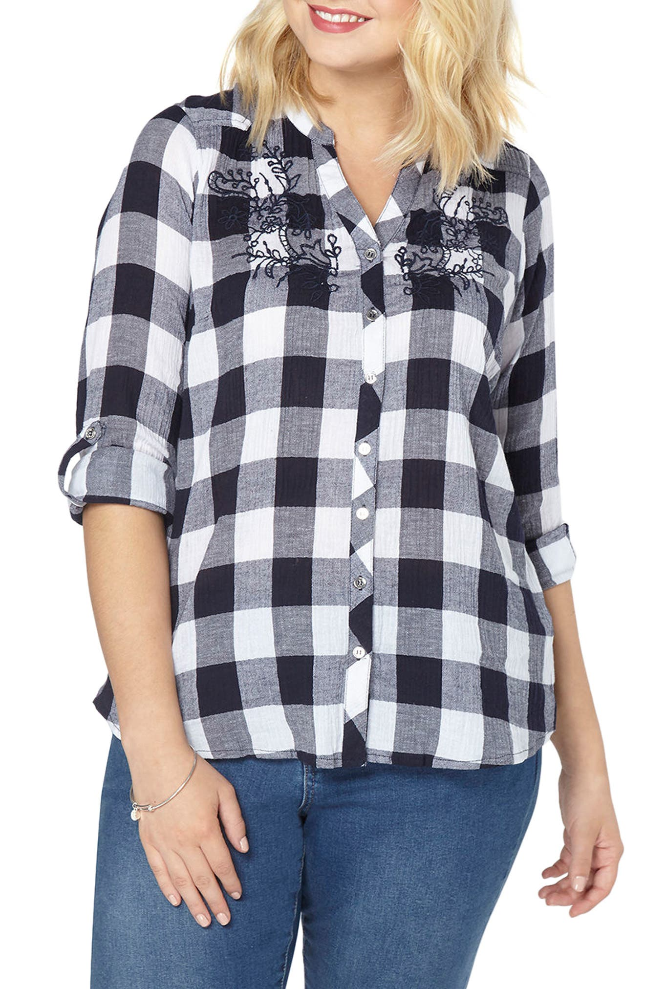 Gingham Embroidered Shirt,                         Main,                         color, Navy/ White