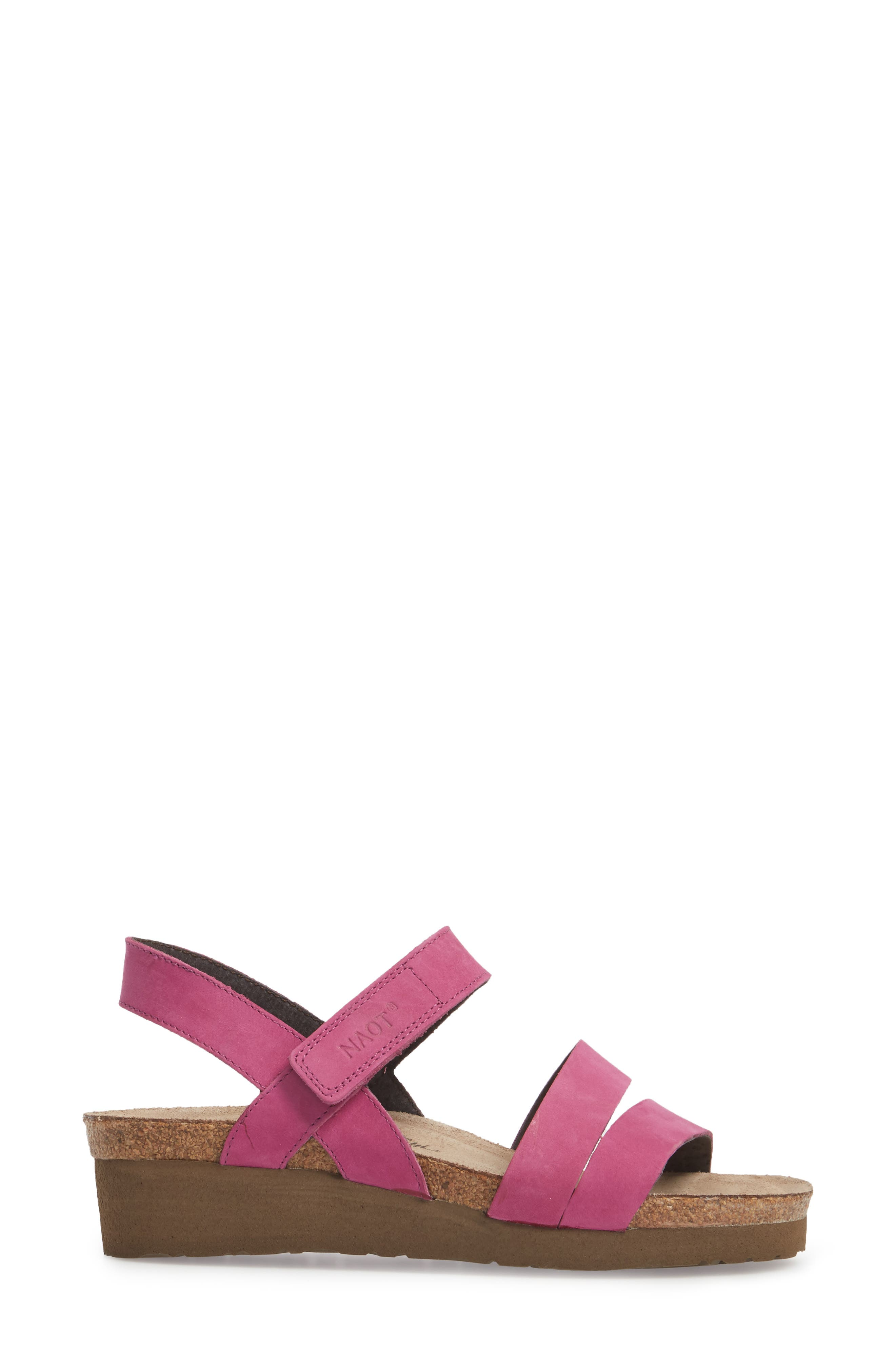 'Kayla' Sandal,                             Alternate thumbnail 3, color,                             Pink Plum Nubuck