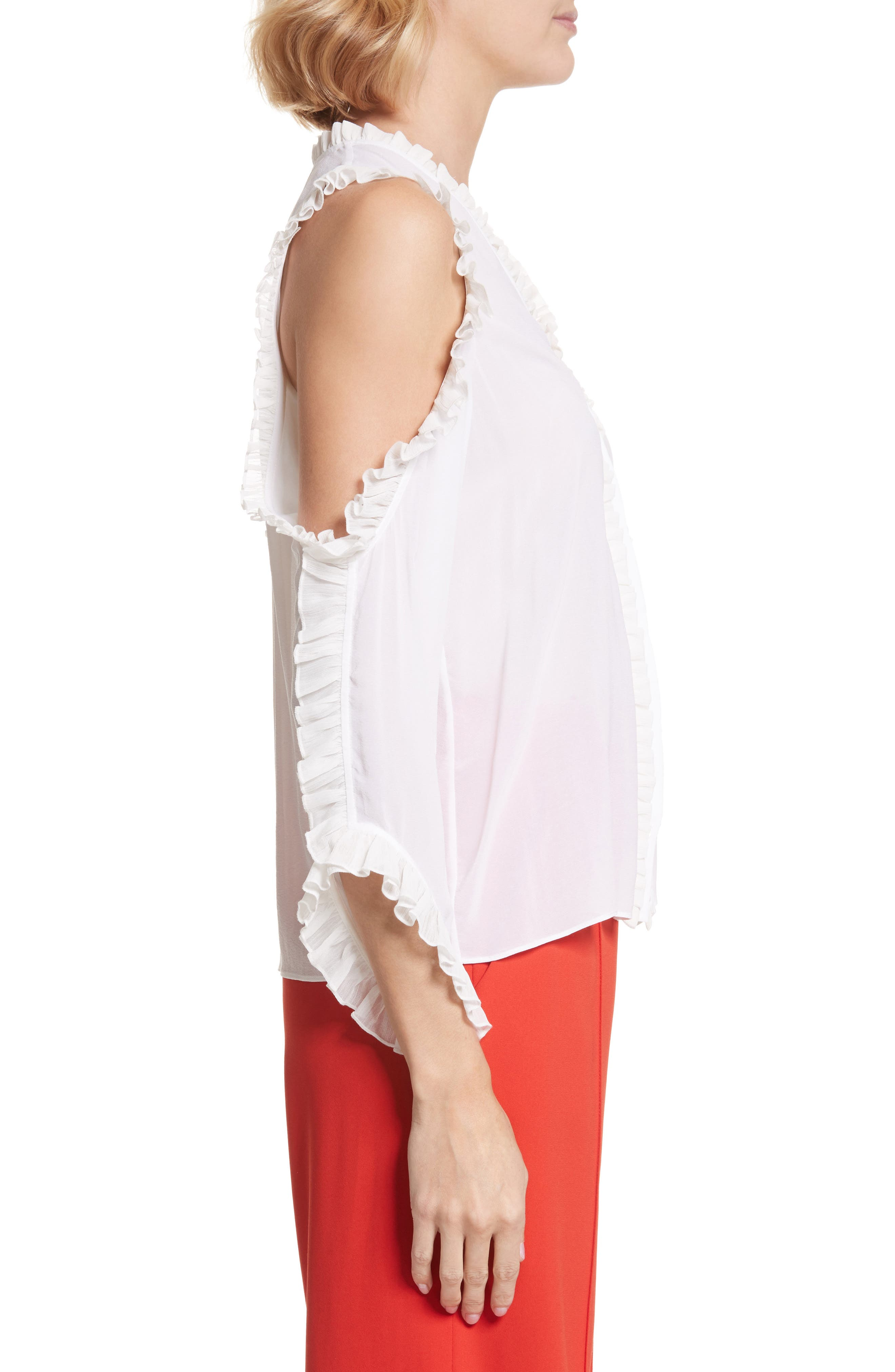 Alternate Image 3  - Alice + Olivia Claudette Ruffle Stretch Silk Top