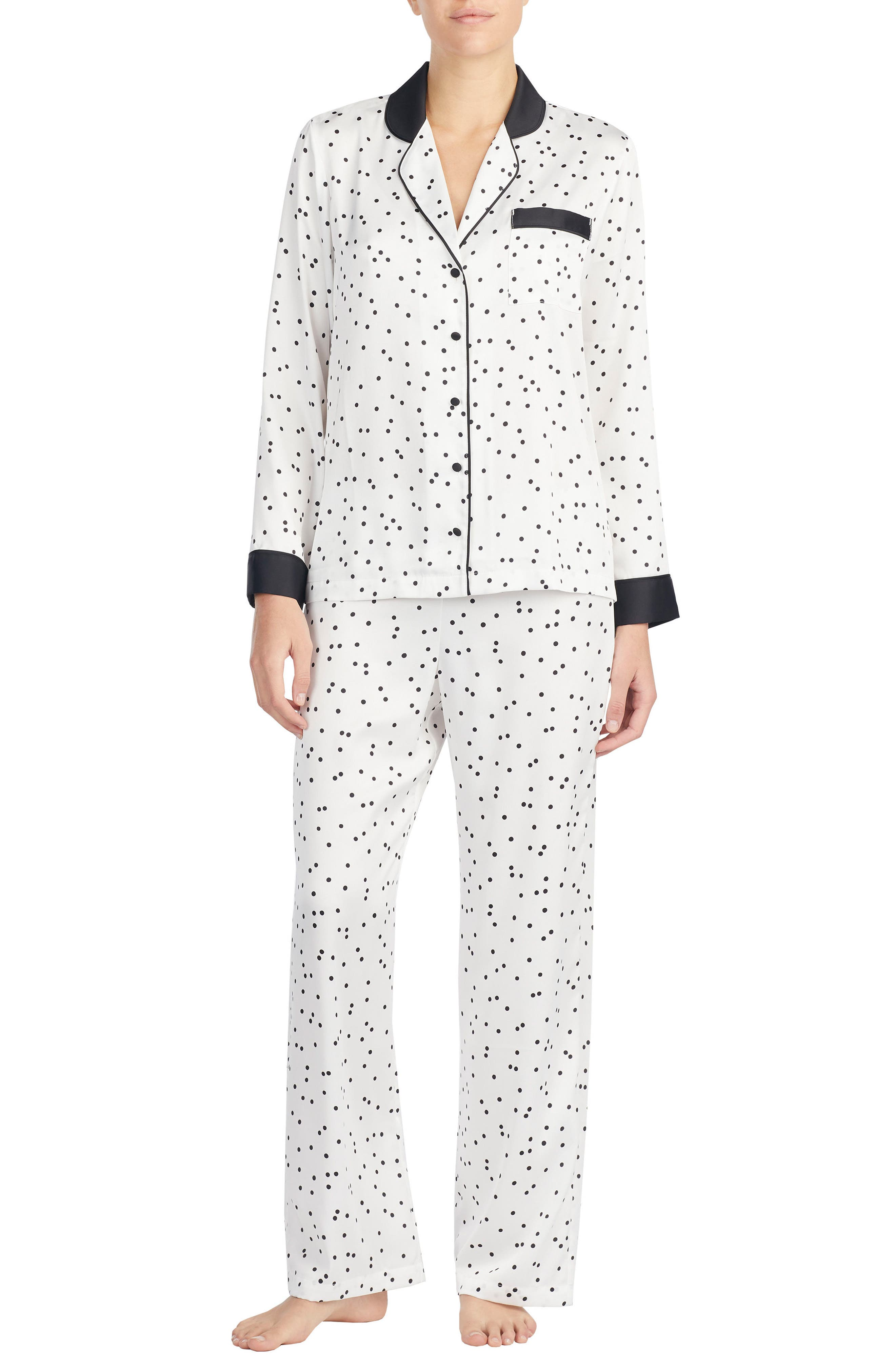 print charmeuse pajamas,                         Main,                         color, Scattered White Dot