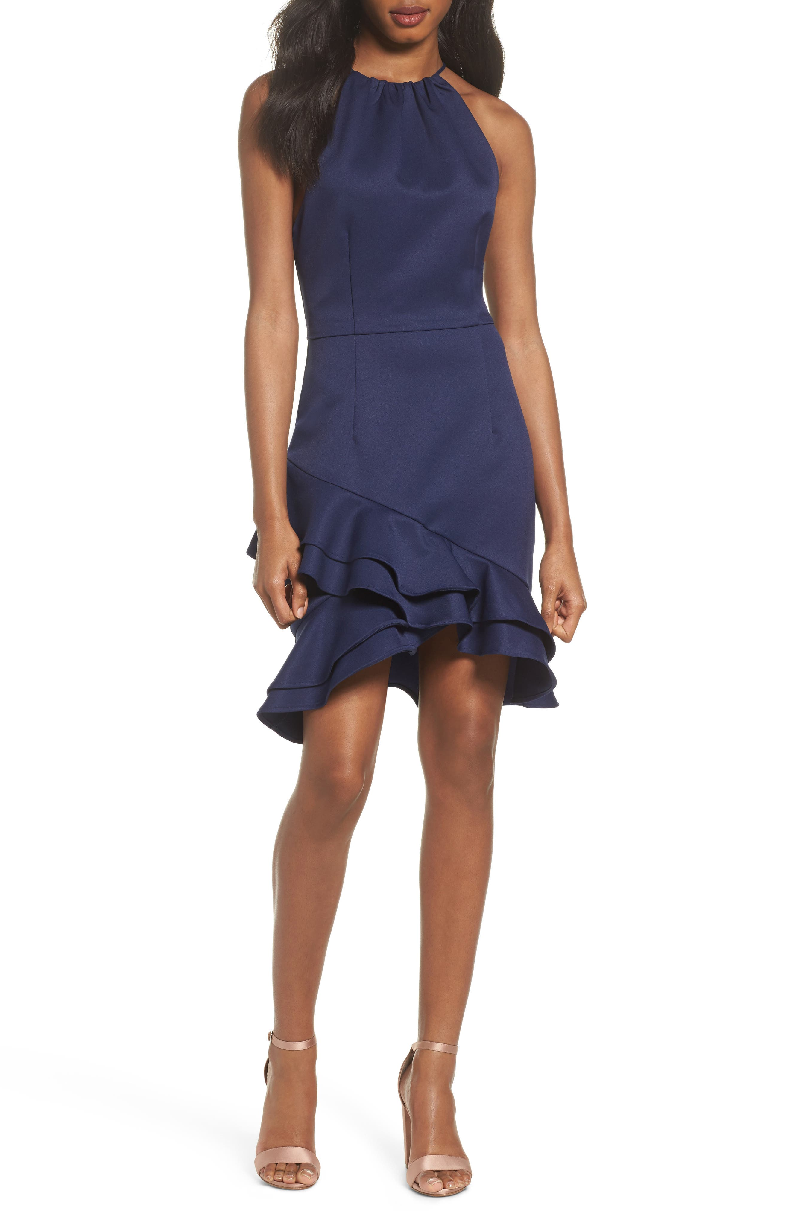 Dove Drift Ruffle Dress,                         Main,                         color, Deep Navy