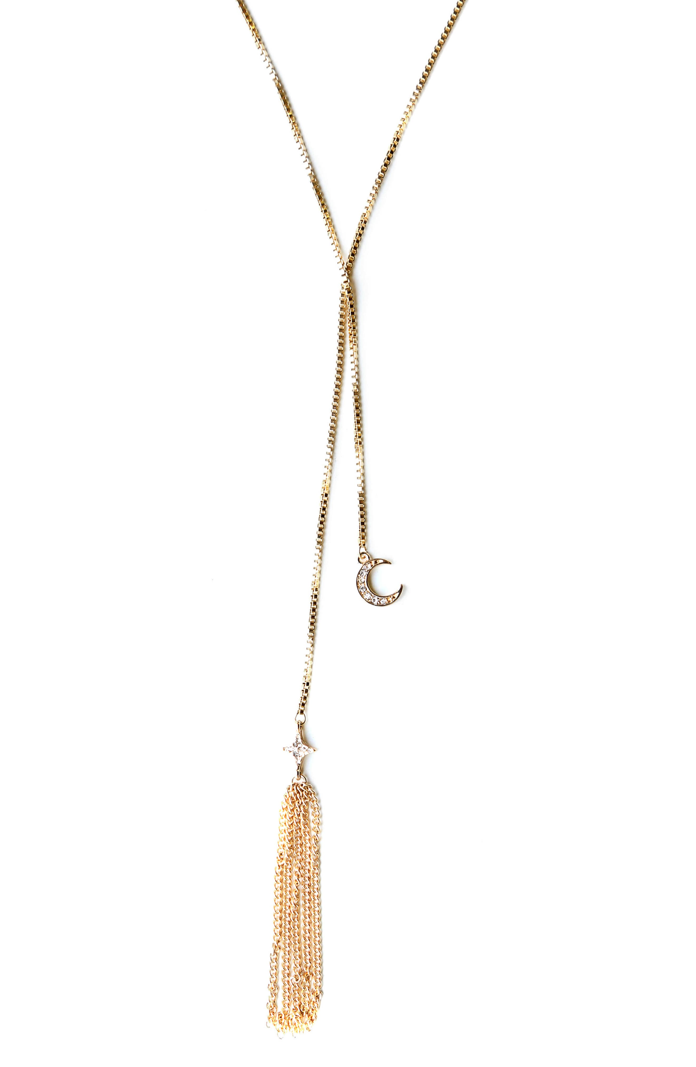 Tassel Lariat Necklace,                         Main,                         color, Gold