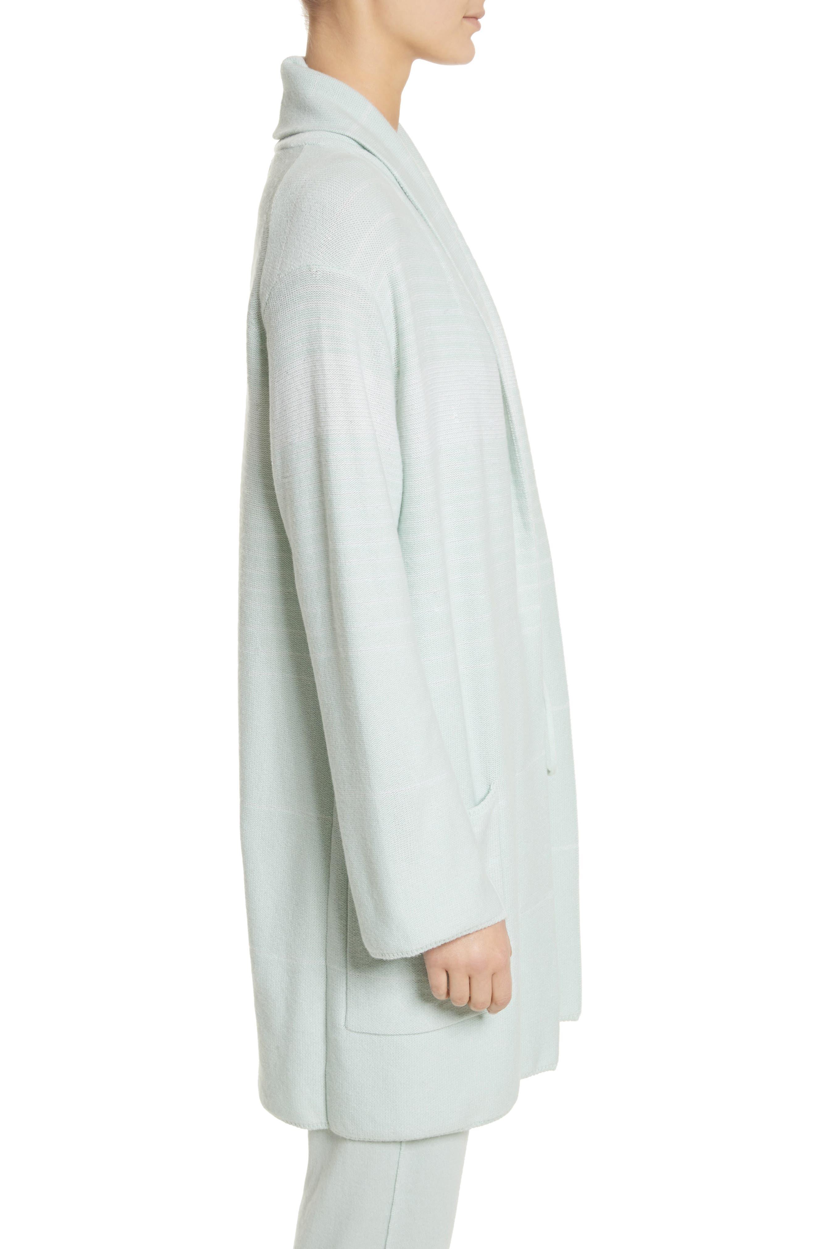 Sequin Cashmere & Silk Cardigan,                             Alternate thumbnail 3, color,                             Mint/ Cream
