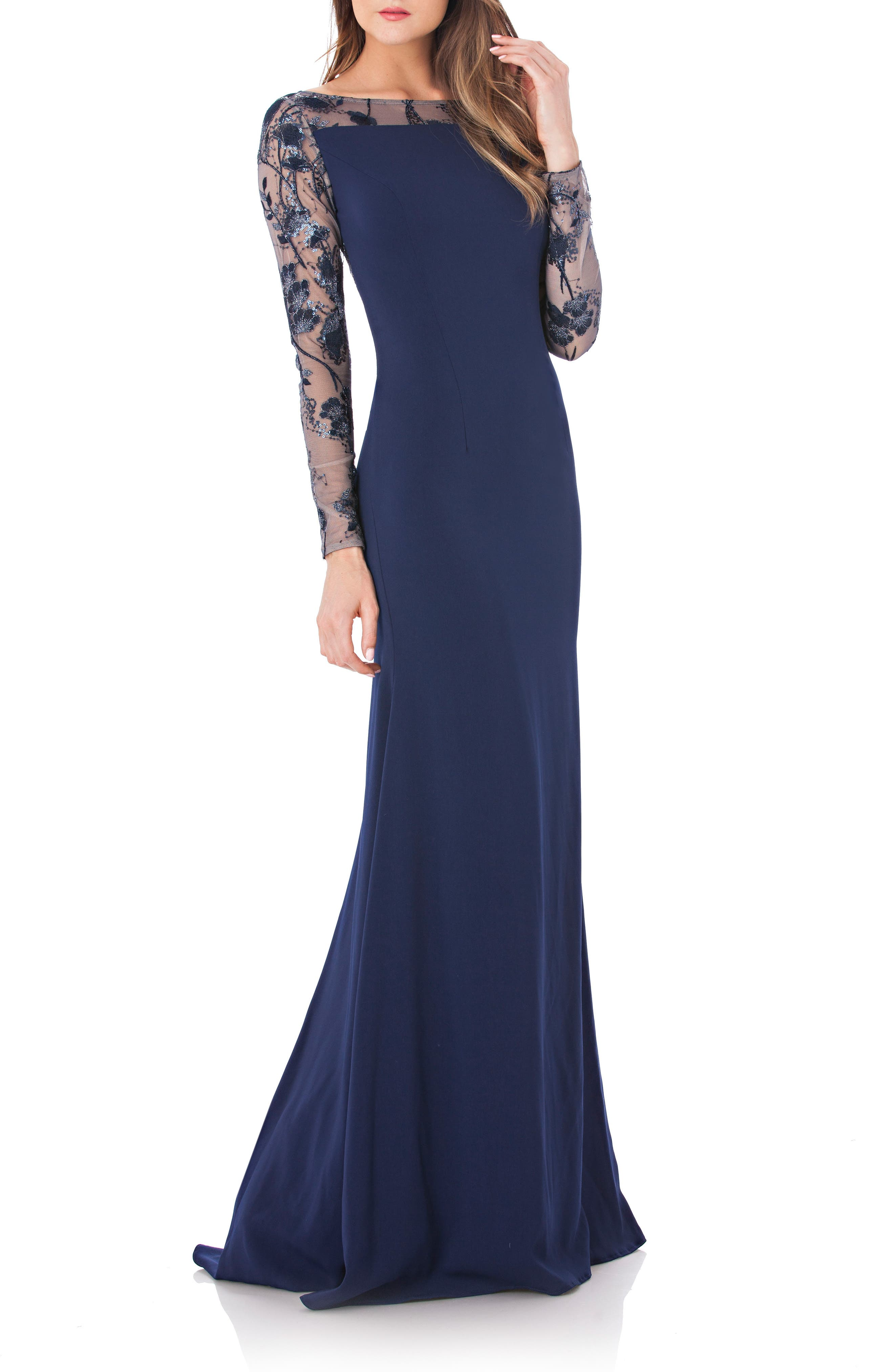 Mesh & Crepe Gown,                         Main,                         color, Navy