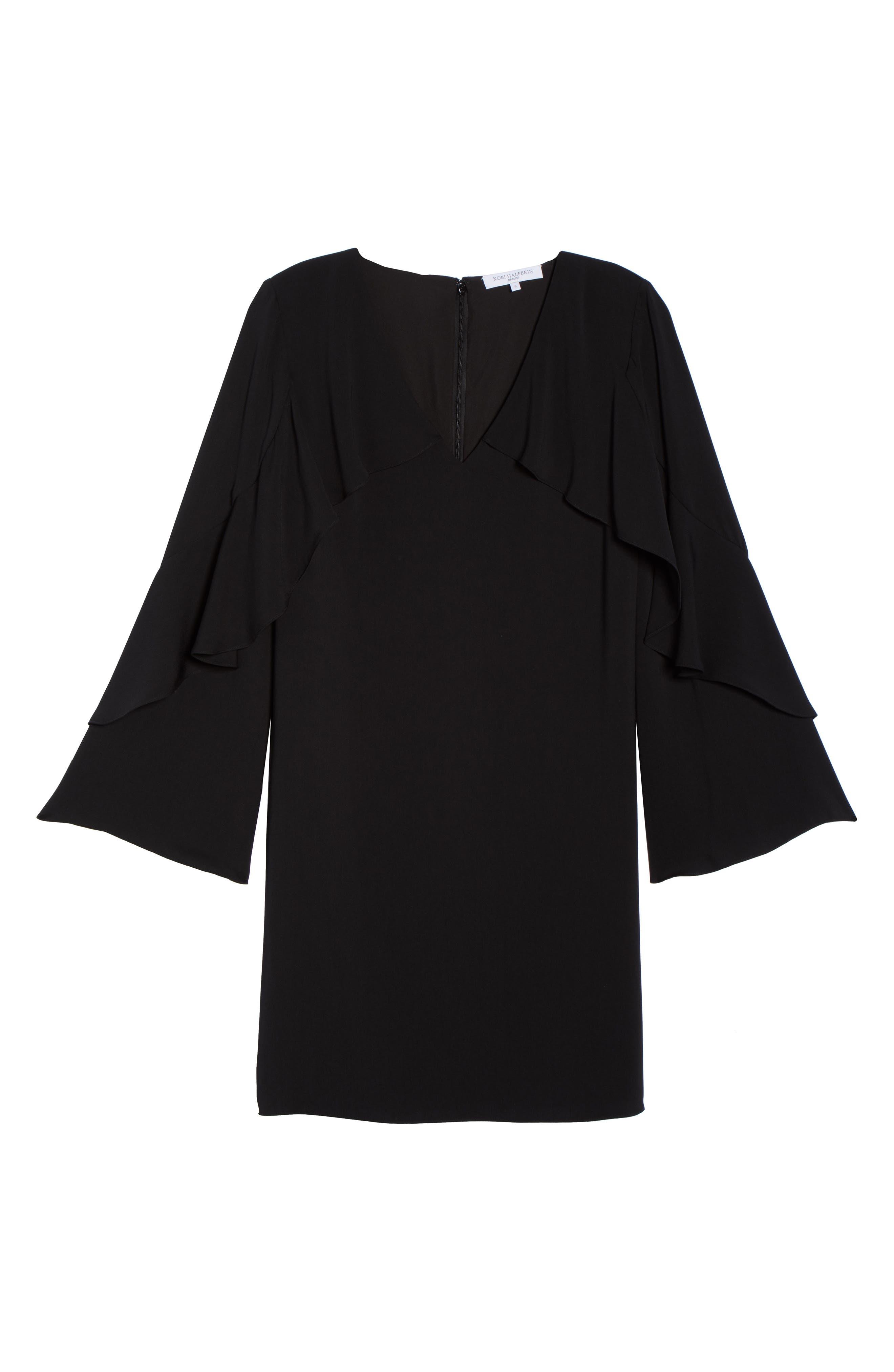 Sherryl Ruffle Sleeve Shift Dress,                             Alternate thumbnail 6, color,                             Black
