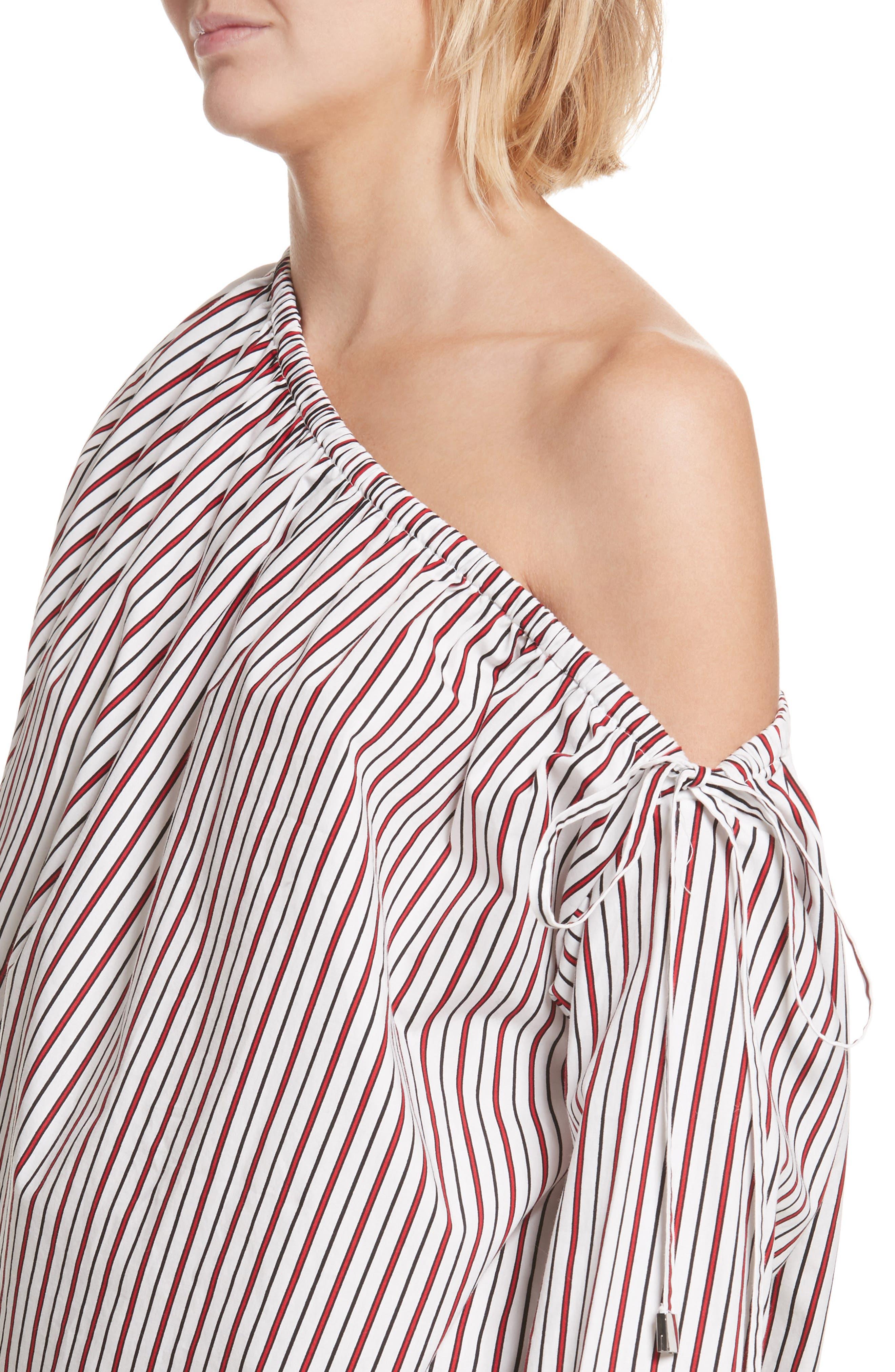 Cinched One-Shoulder Top,                             Alternate thumbnail 4, color,                             Red Stripe
