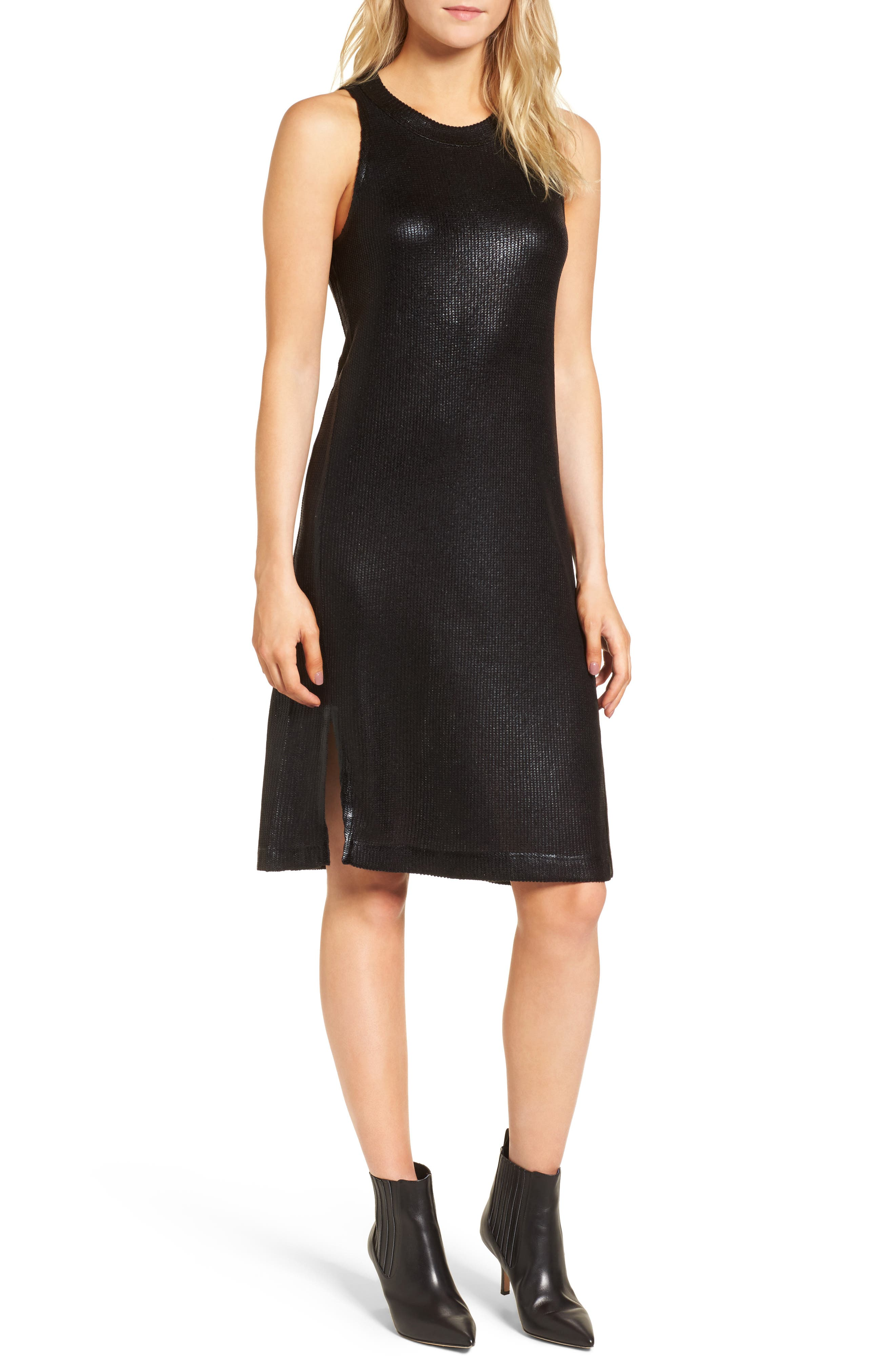 Metallic Coated Dress,                             Main thumbnail 1, color,                             Black