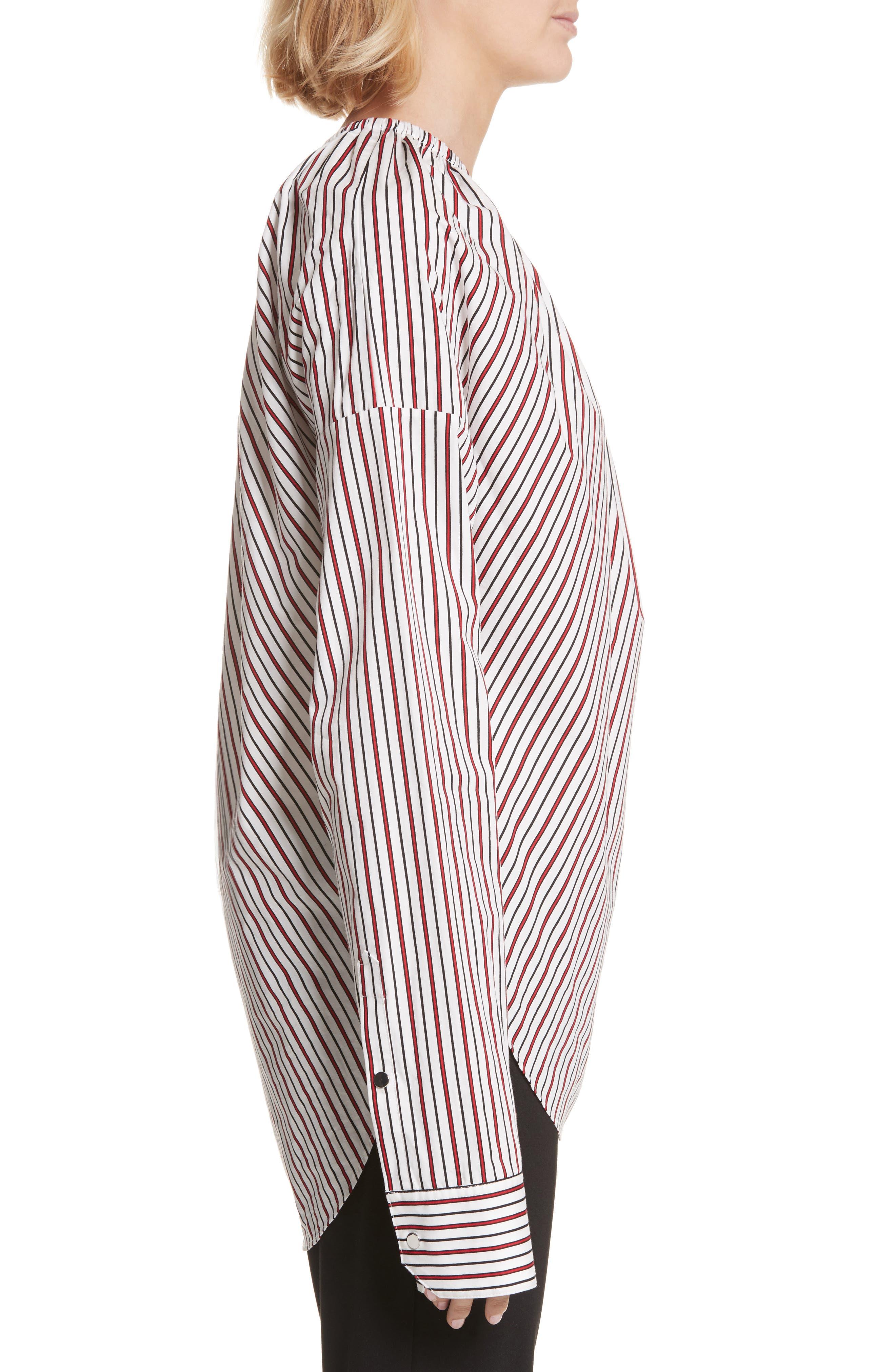Cinched One-Shoulder Top,                             Alternate thumbnail 3, color,                             Red Stripe