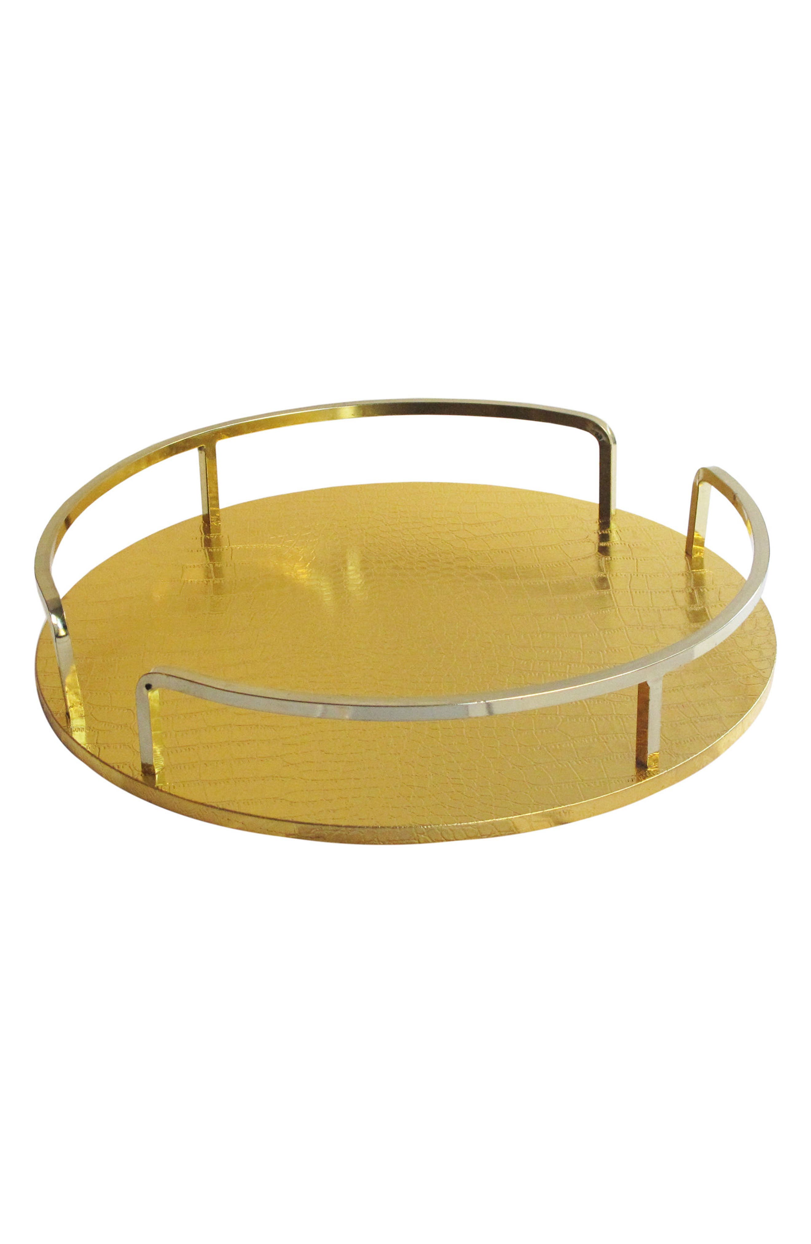 Croc Embossed Serving Tray,                             Main thumbnail 1, color,                             Gold