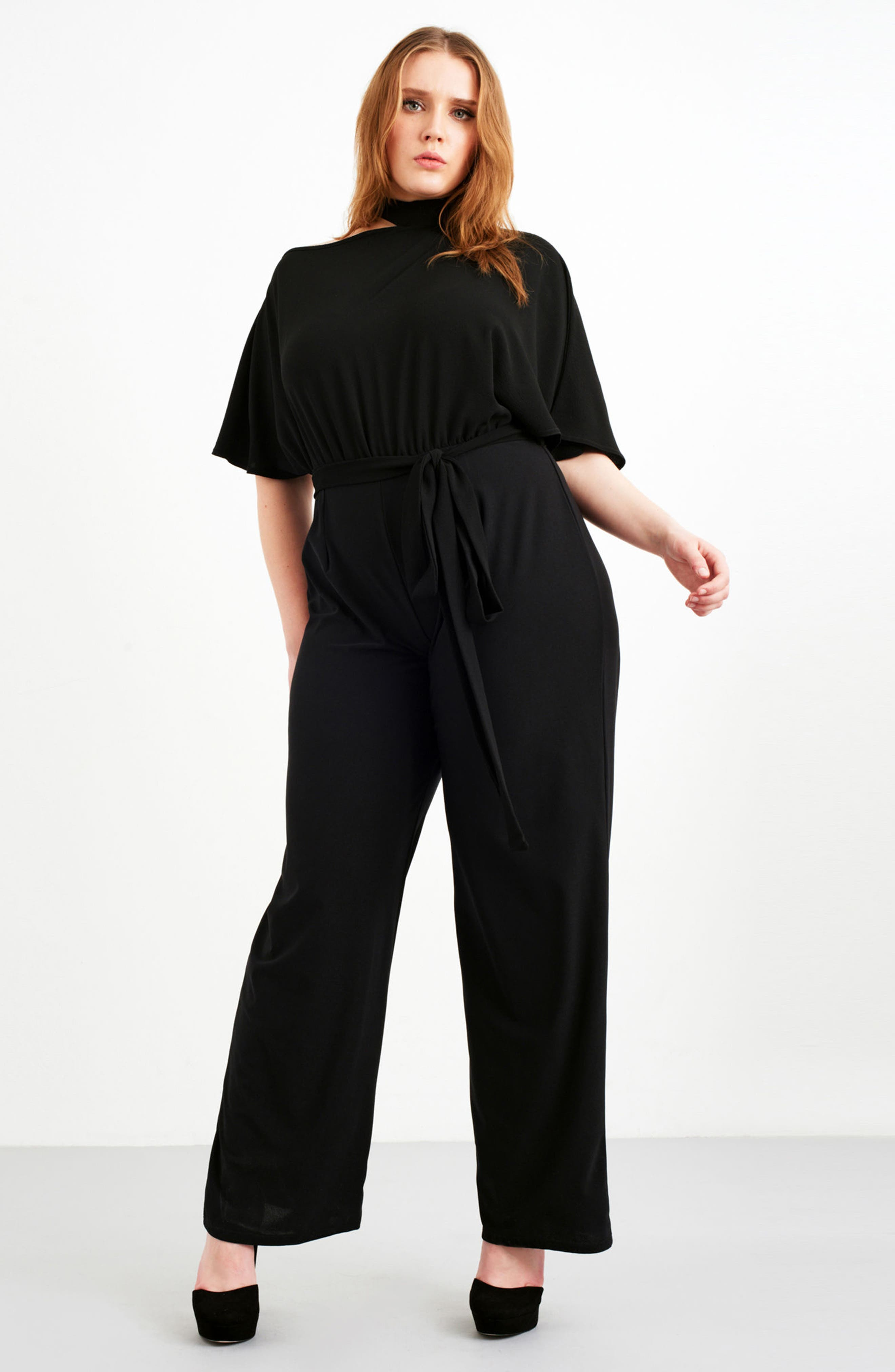 Cutout Shoulder Jumpsuit,                             Alternate thumbnail 2, color,                             Black