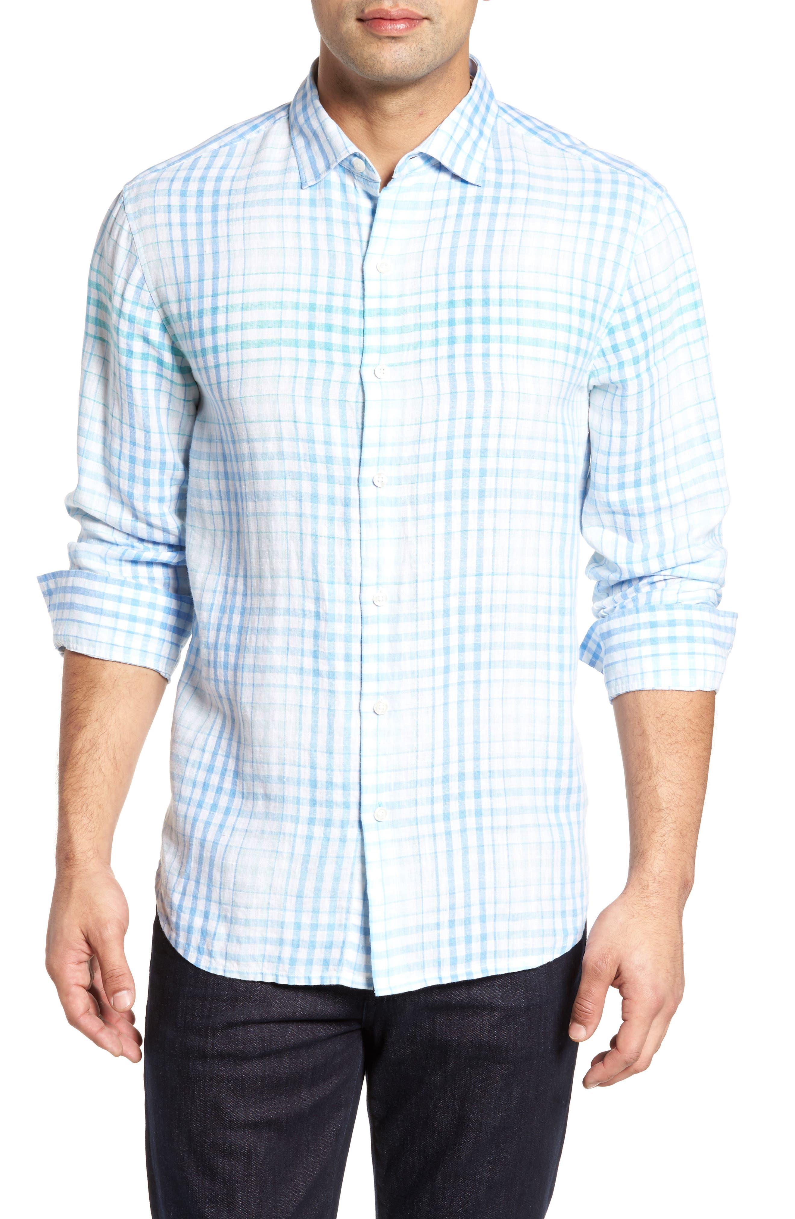 Malahina Plaid Linen Sport Shirt,                         Main,                         color, Blue Canal