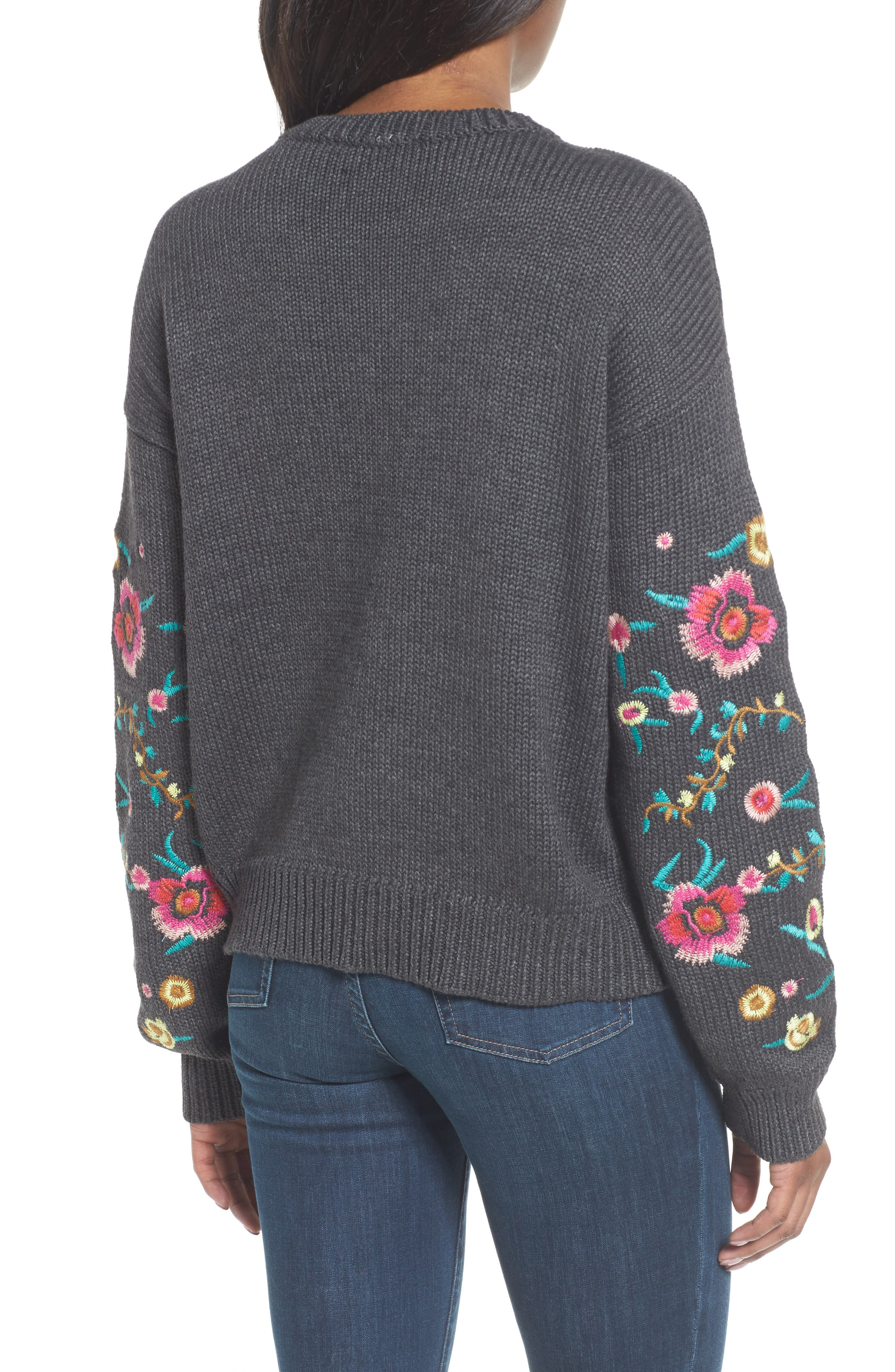 Floral Sleeve Sweater,                             Alternate thumbnail 2, color,                             Grey