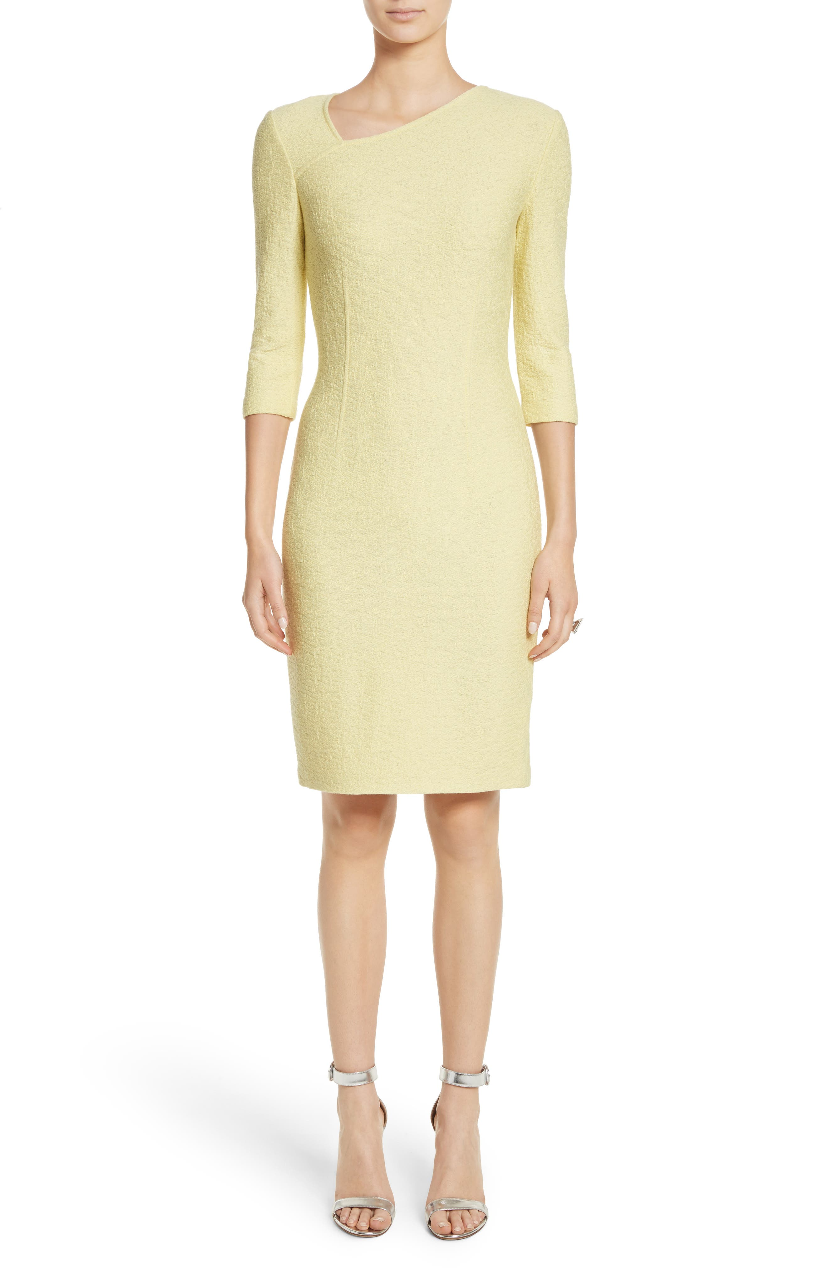 Hannah Knit Asymmetrical Sheath Dress,                         Main,                         color, Citron