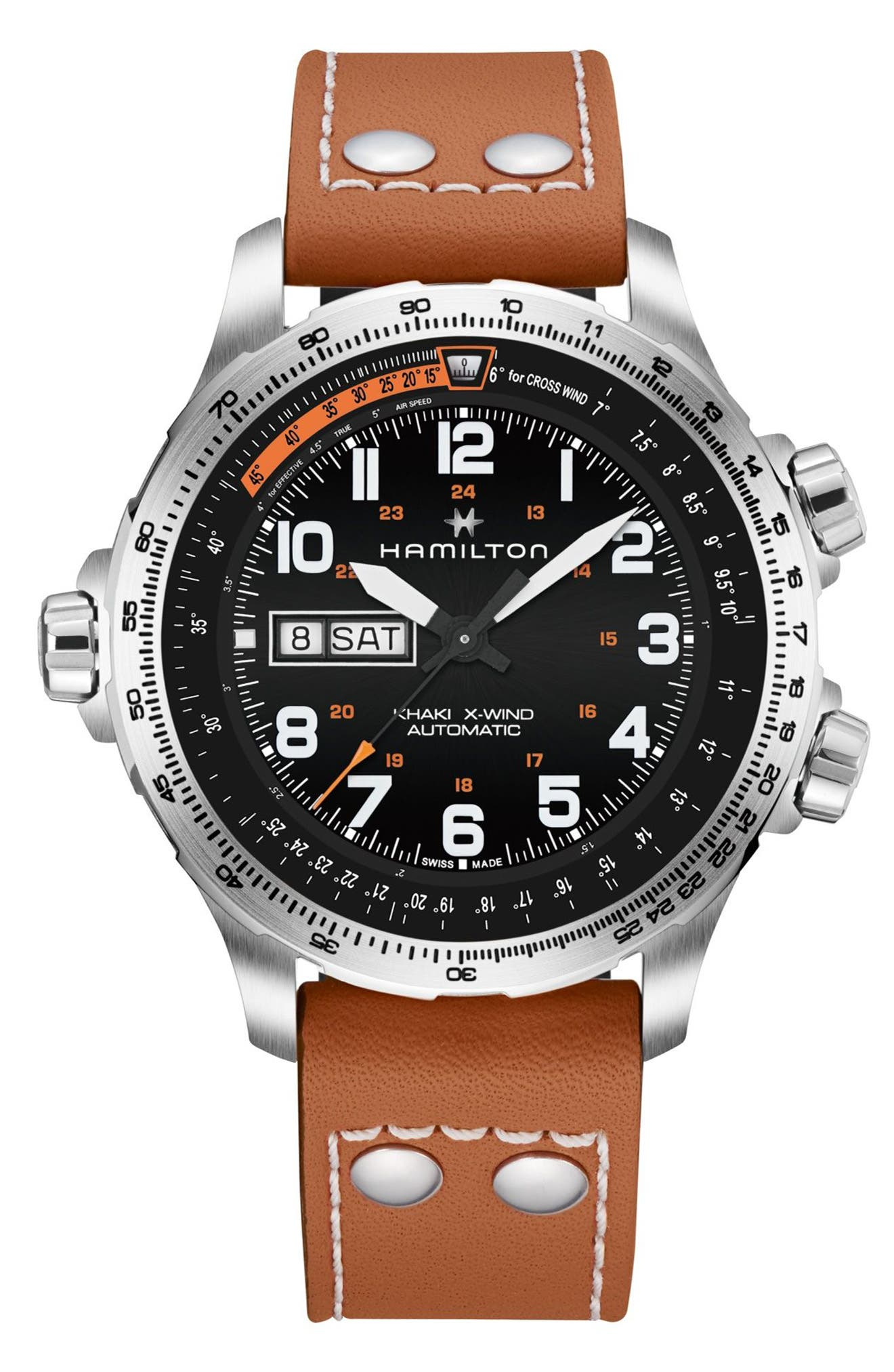 Main Image - Hamilton Khaki X-Wind Automatic Chronograph Leather Strap Watch, 45mm