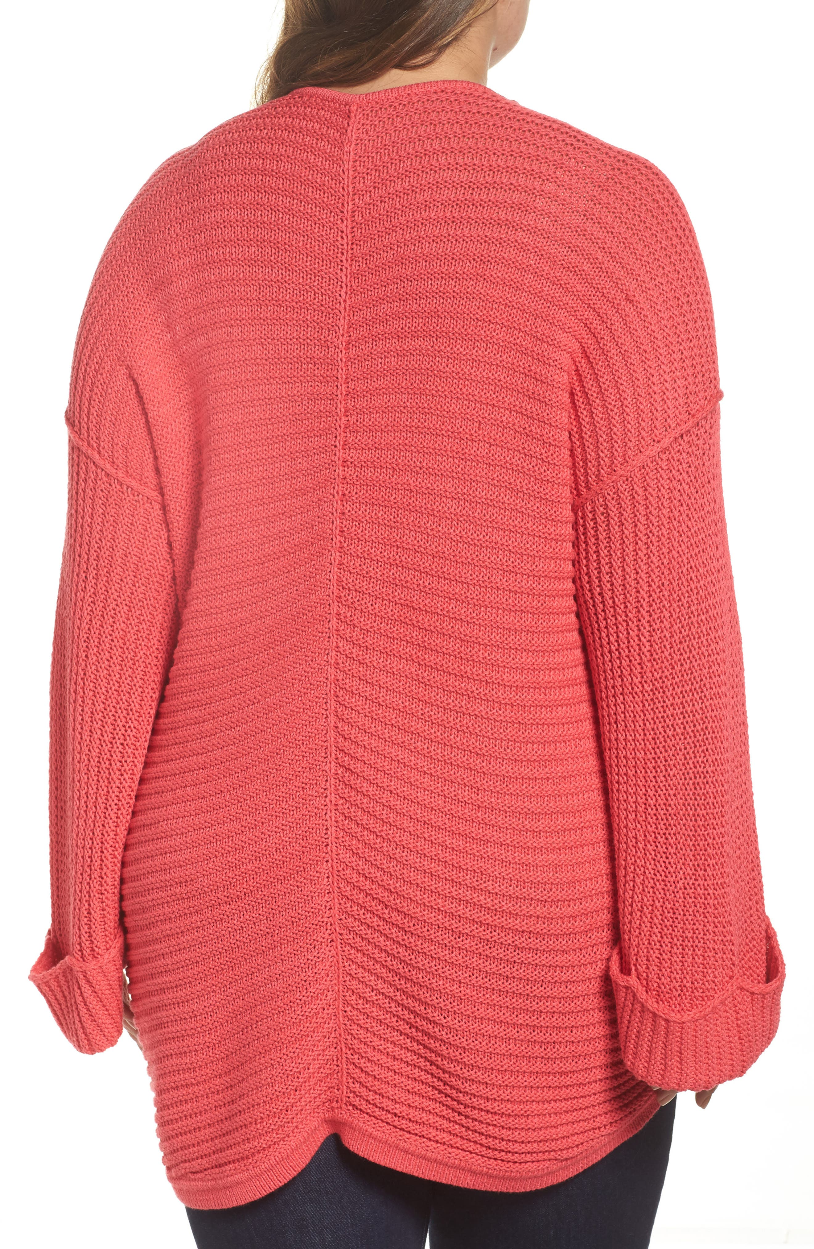 Cuffed Bell Sleeve Sweater,                             Alternate thumbnail 2, color,                             Pink Ribbon