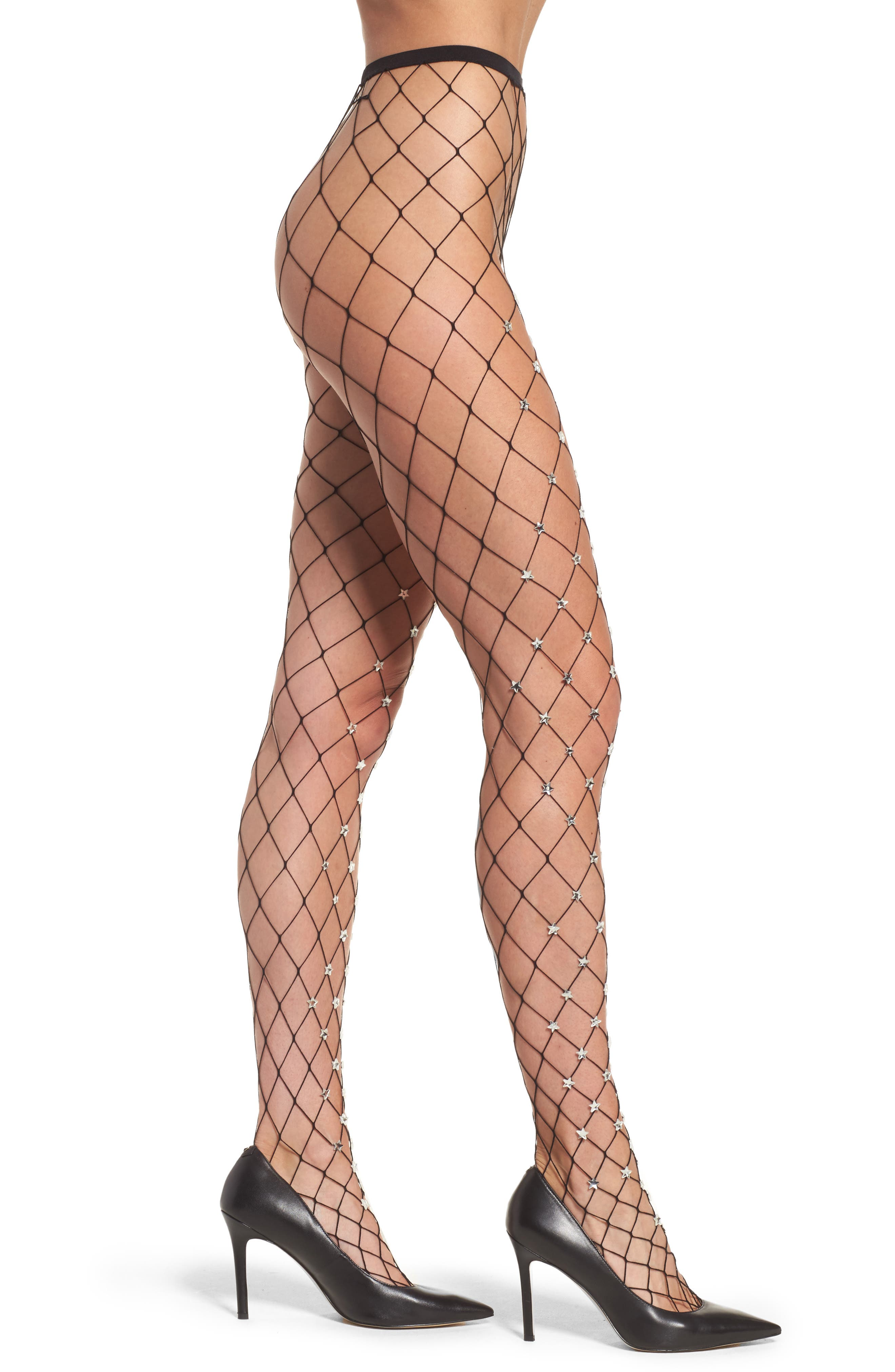 Silver Starry Fishnet Tights,                         Main,                         color, Black