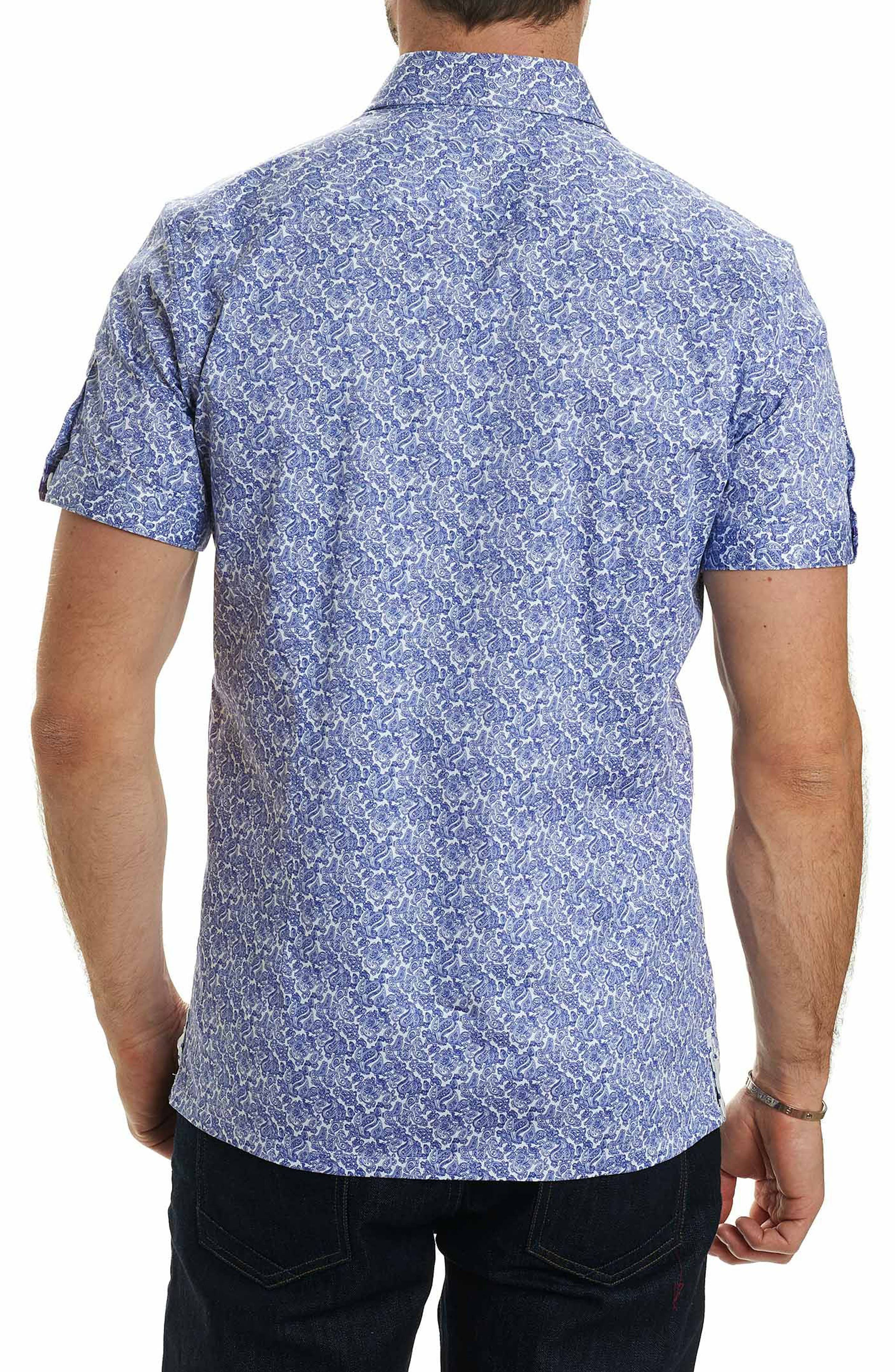 Thad Tailored Fit Paisley Sport Shirt,                             Alternate thumbnail 2, color,                             Purple