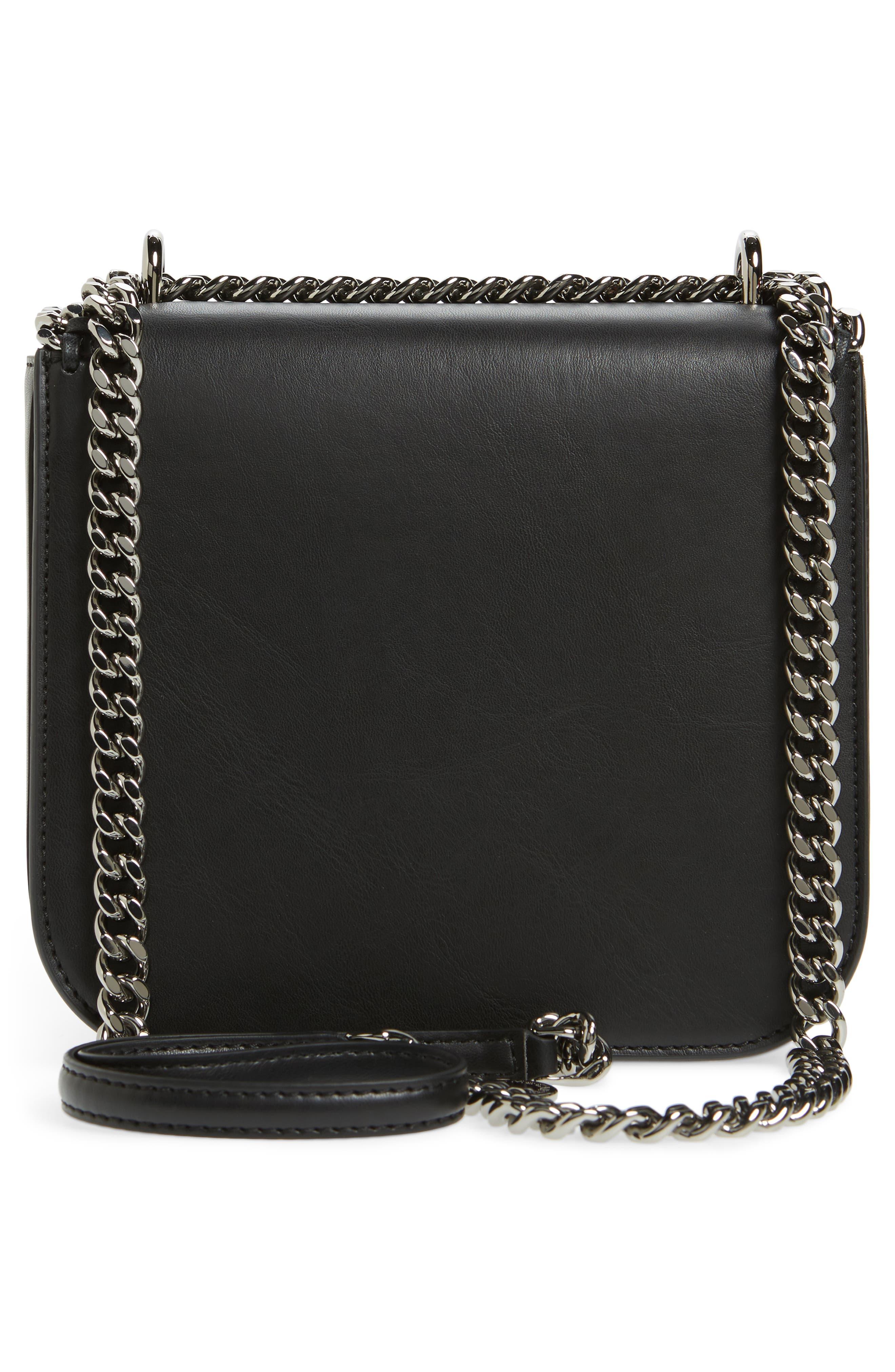 Small Falabella Box Alter Nappa Faux Leather Crossbody Bag,                             Alternate thumbnail 3, color,                             Black/ Black