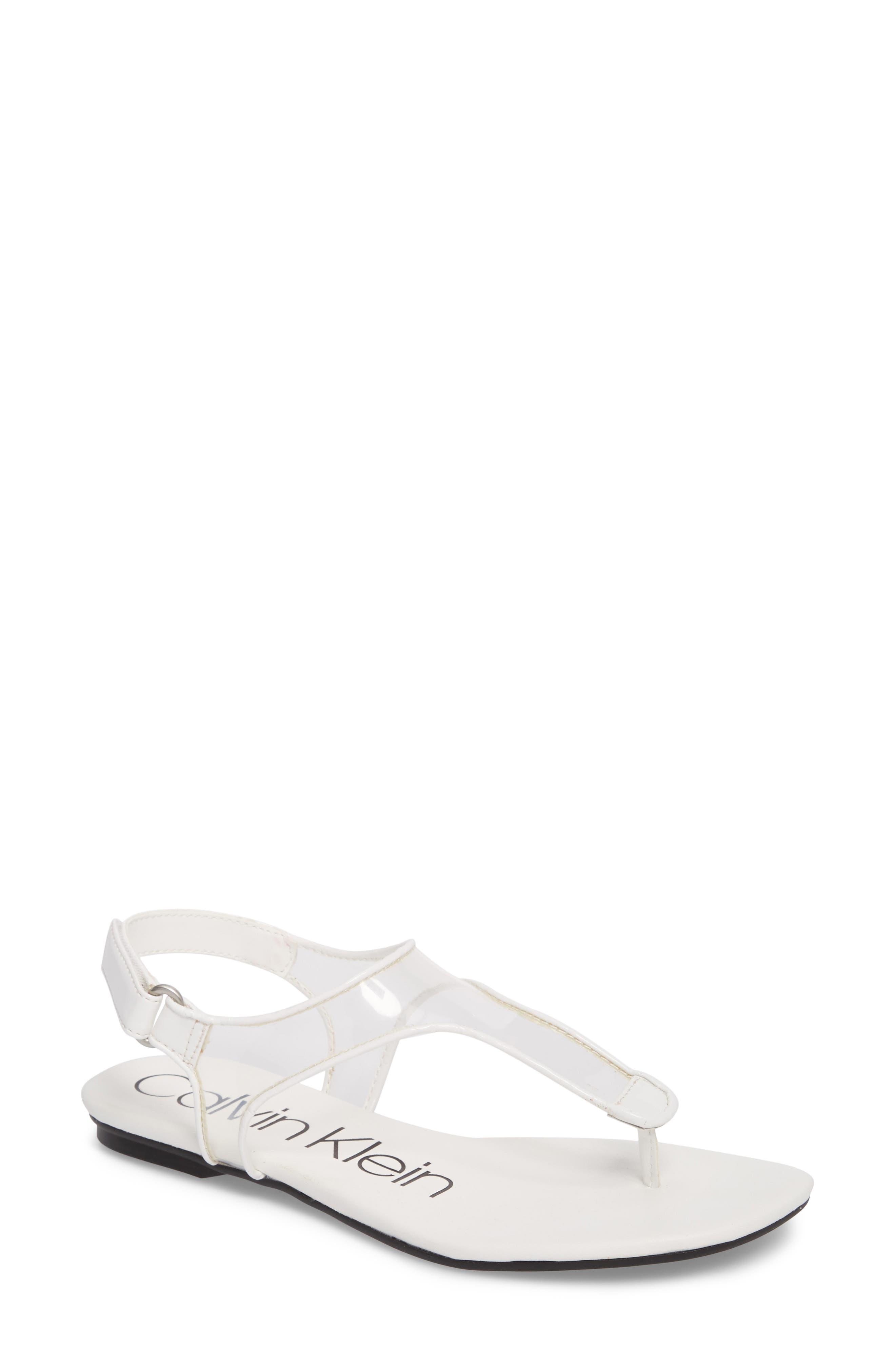 Shilo Clear Strap Sandal,                             Main thumbnail 1, color,                             Platinum White Faux Leather